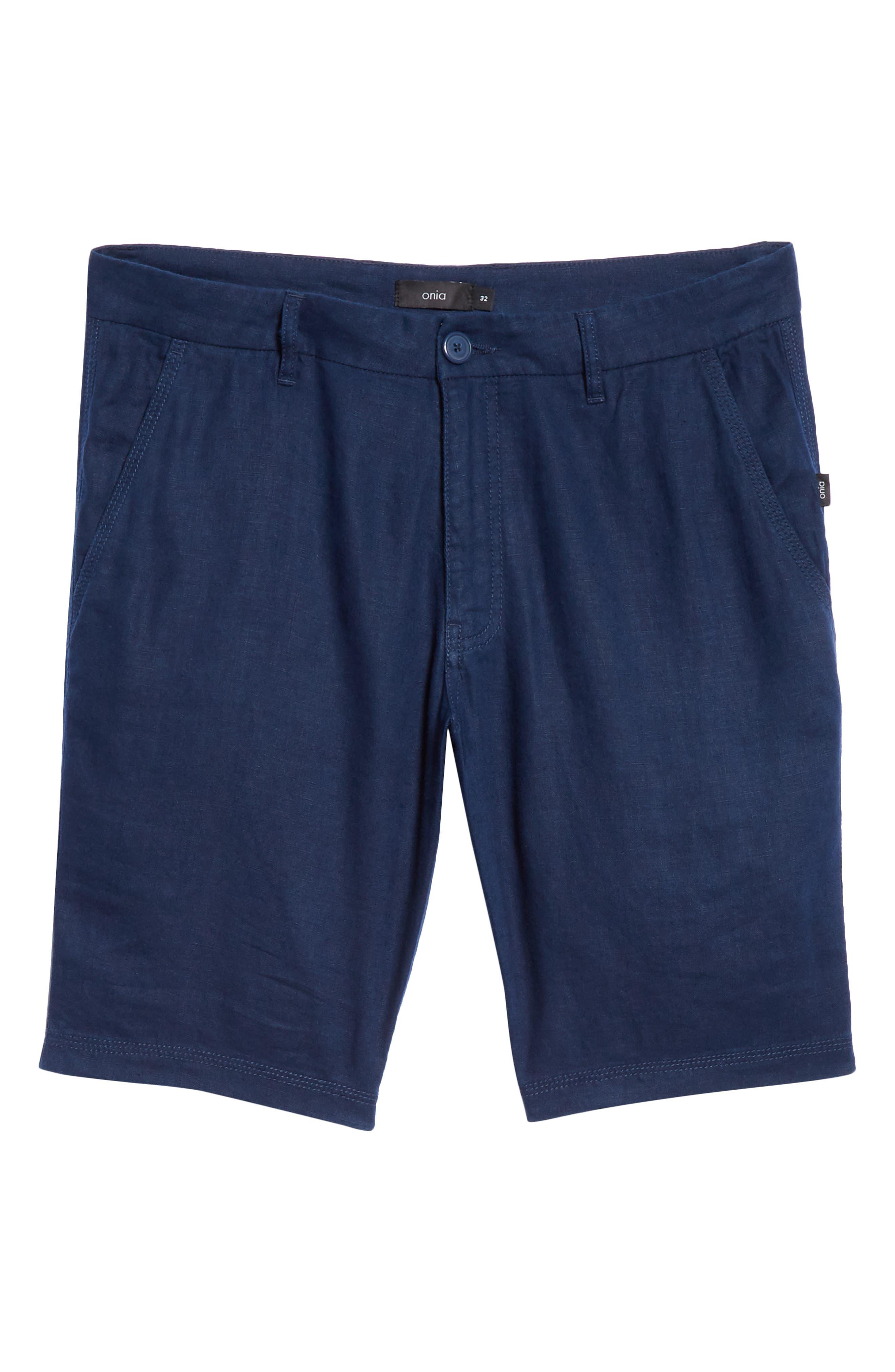 Austin Linen Shorts,                             Alternate thumbnail 6, color,                             DEEP NAVY