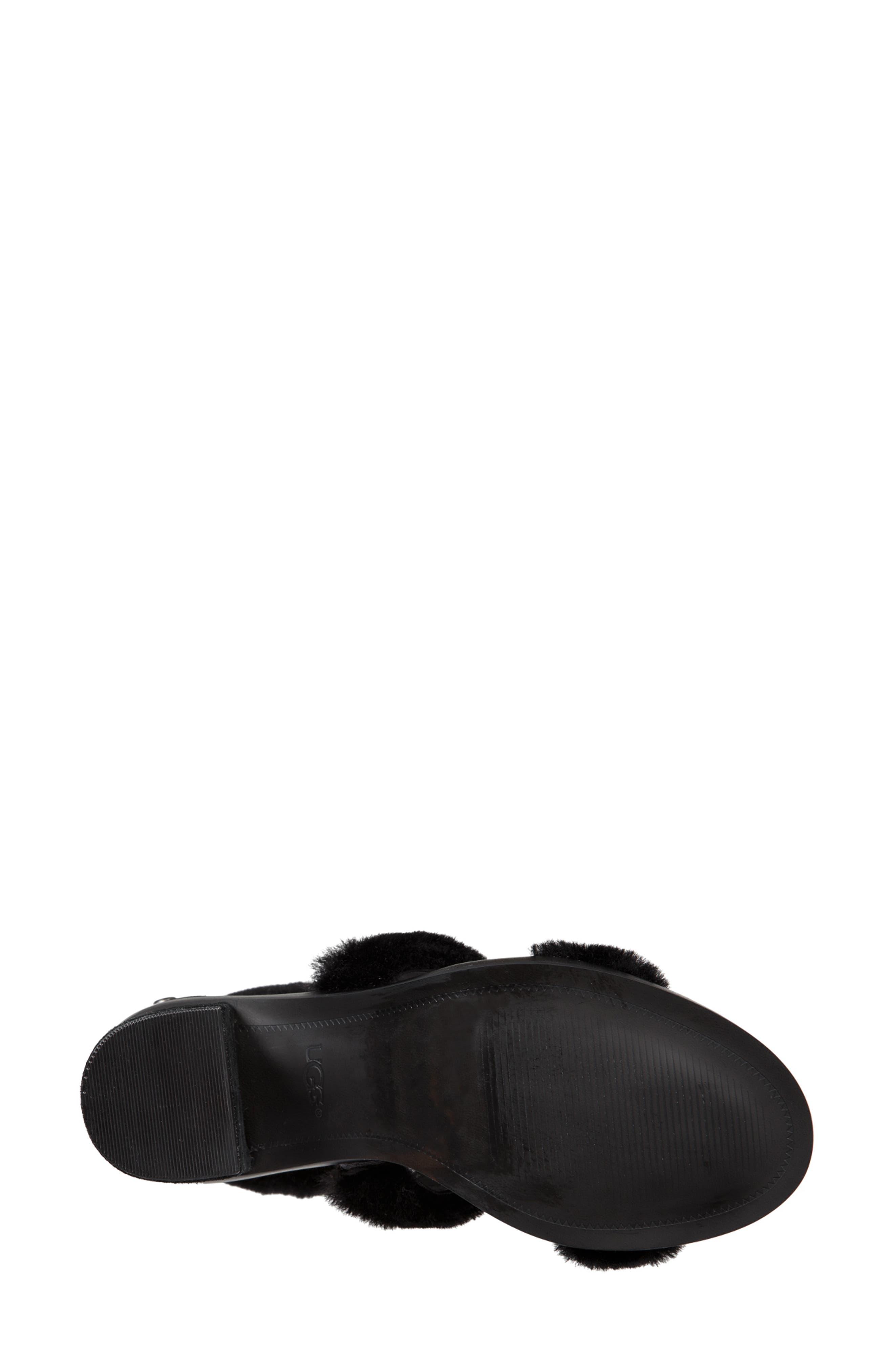 Dey Rey Genuine Shearling Sandal,                             Alternate thumbnail 5, color,                             BLACK