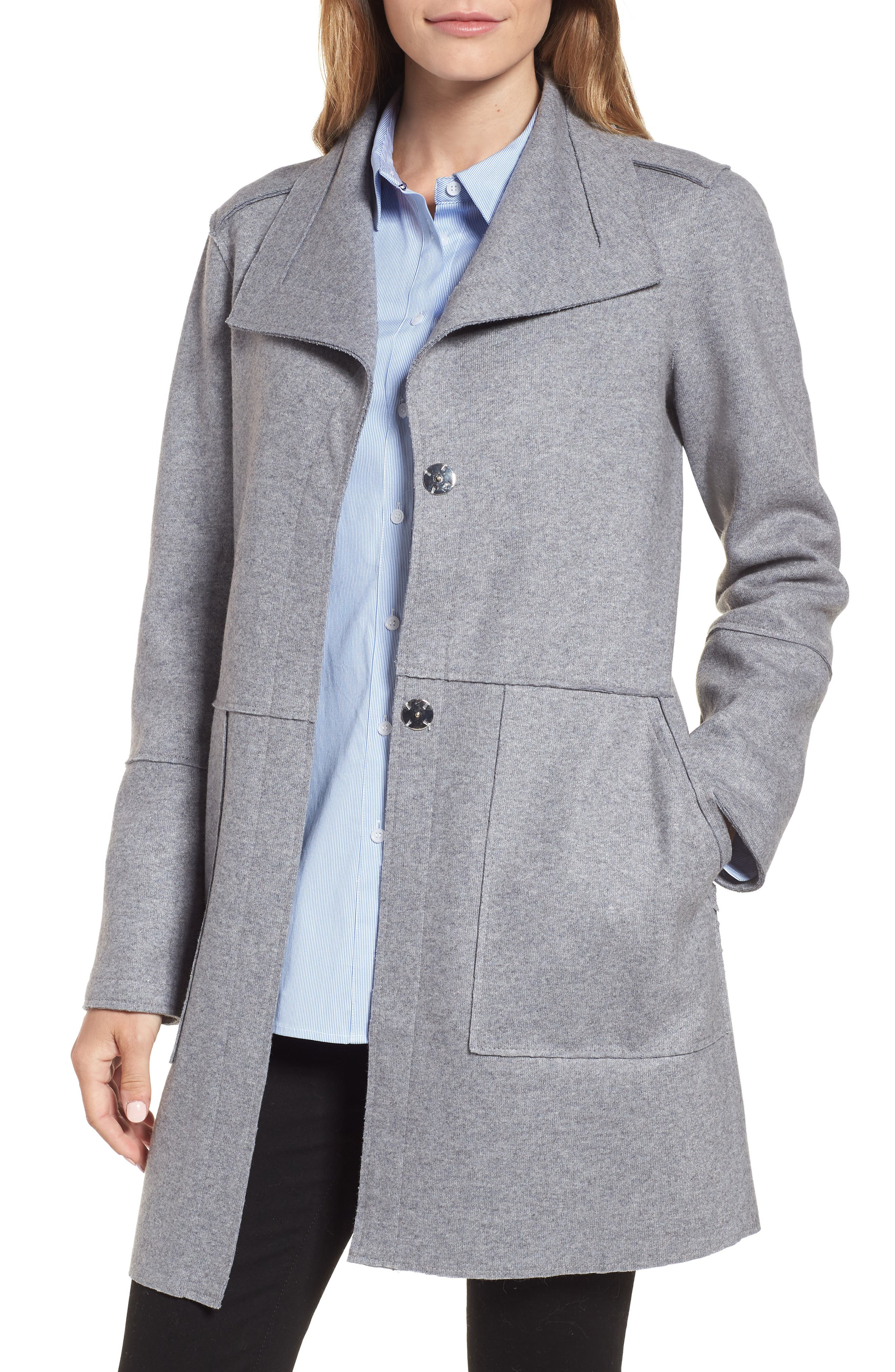Envelope Collar Wool Blend Knit Coat,                             Main thumbnail 1, color,                             LIGHT GREY