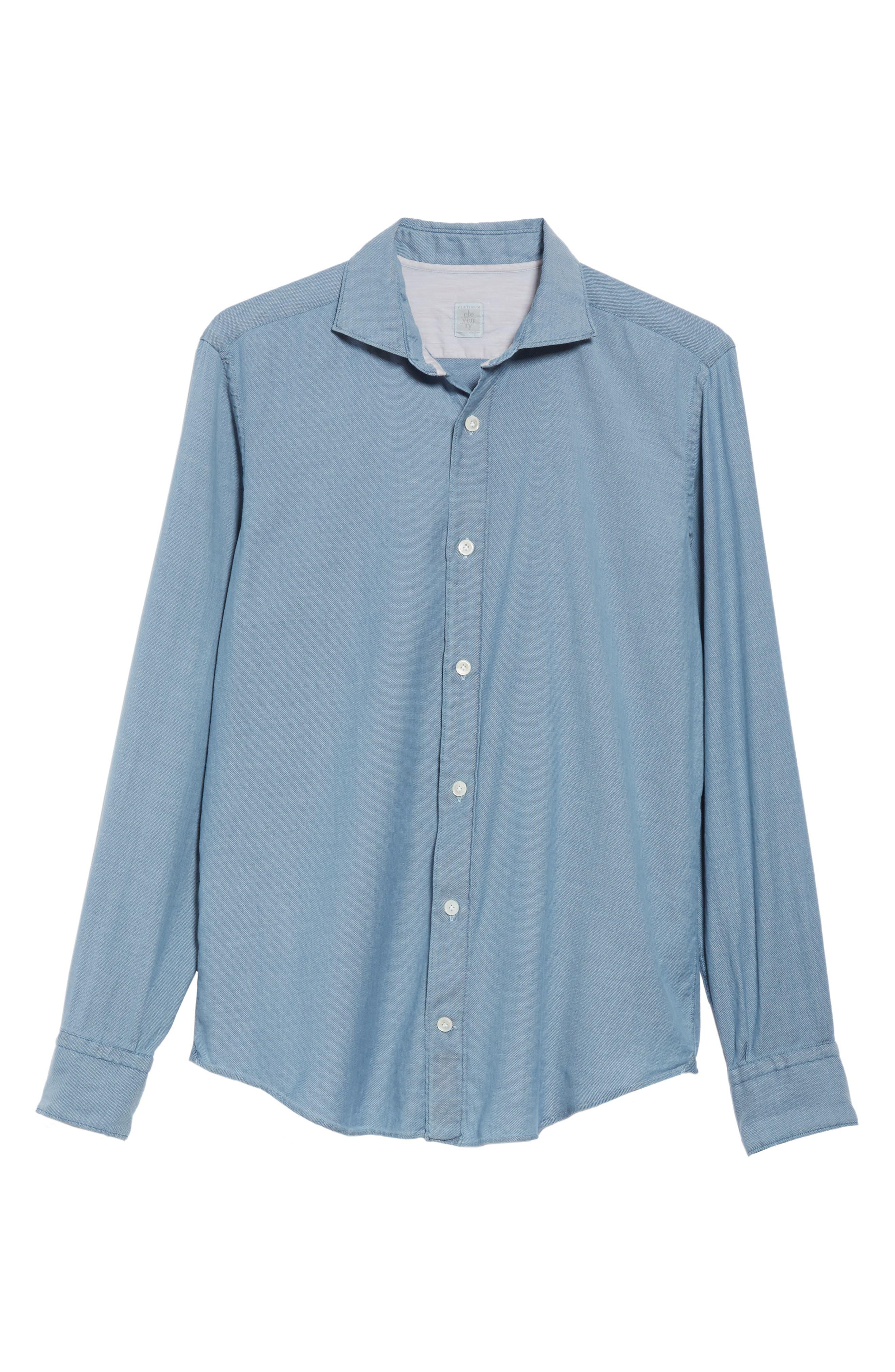 ELEVENTY,                             Trim Fit Stretch Solid Sport Shirt,                             Alternate thumbnail 5, color,                             DENIM