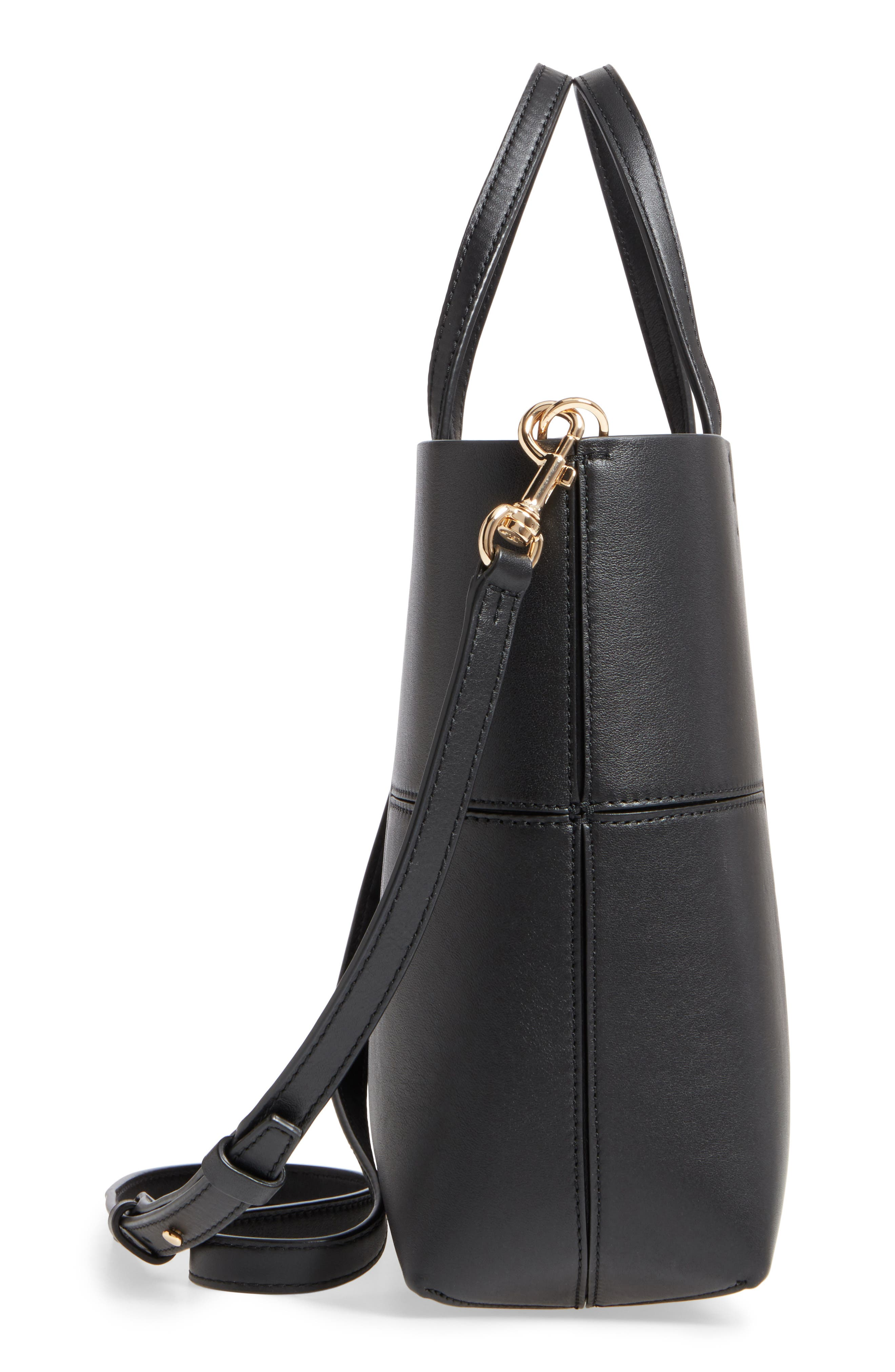 Block-T Mini Leather Tote,                             Alternate thumbnail 5, color,                             BLACK/BLACK