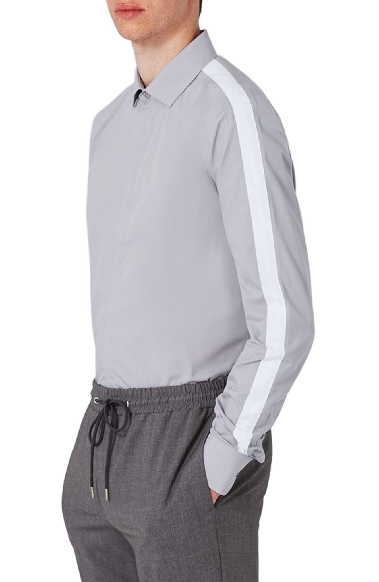 Slim Fit Contrast Stripe Woven Shirt,                             Main thumbnail 1, color,                             020