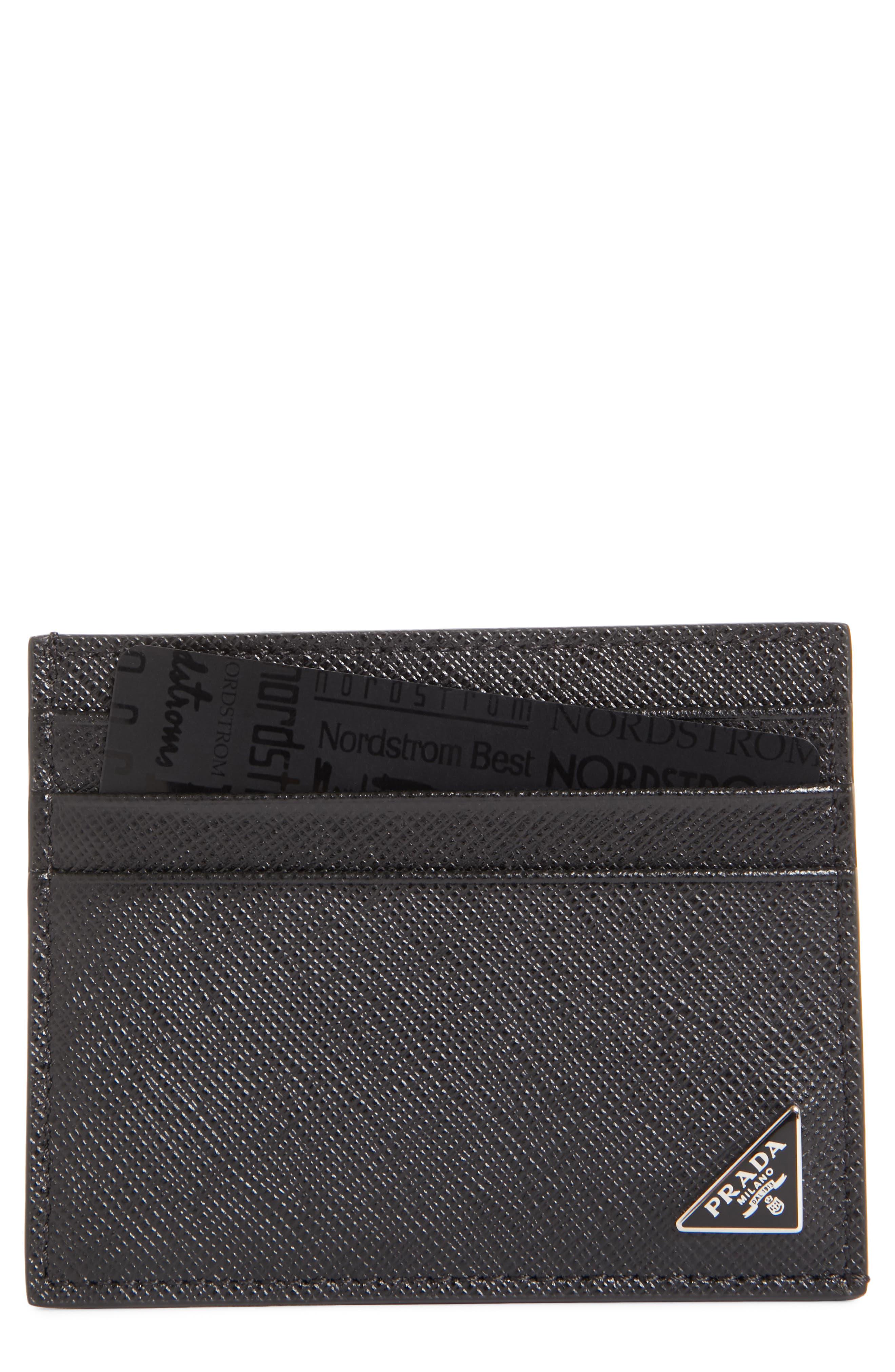 Triangle Logo Leather Card Case,                             Main thumbnail 1, color,                             NERO