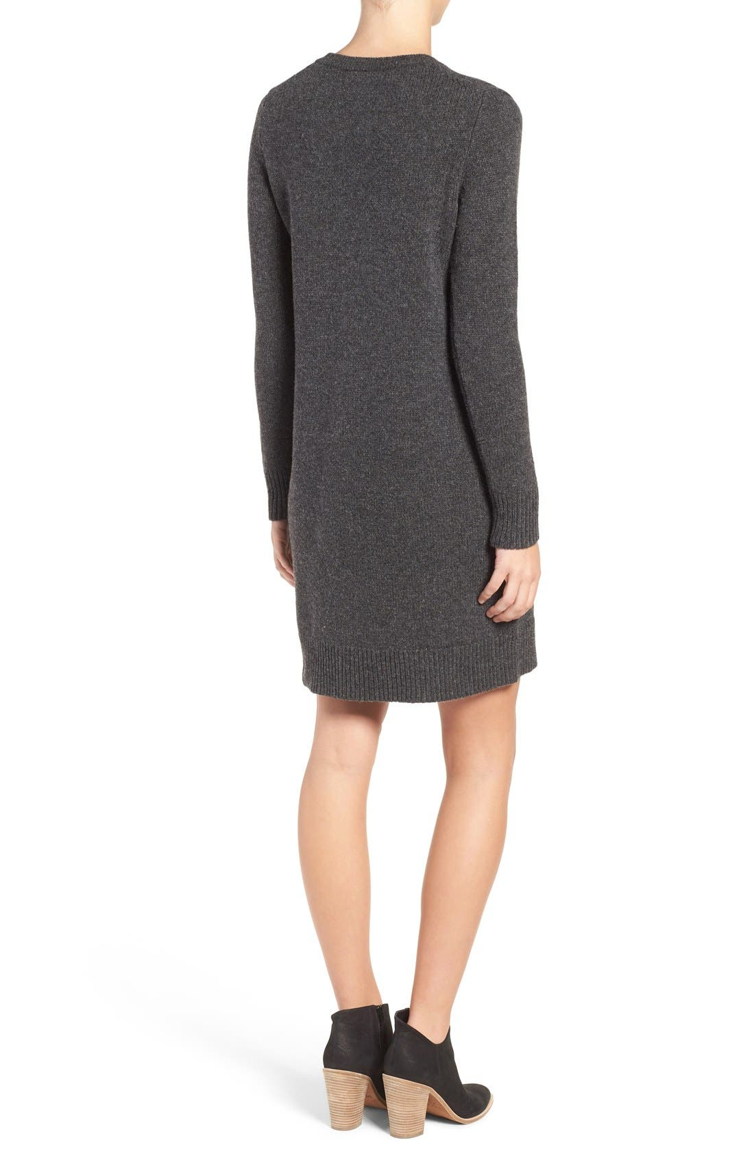 Lace-Up Merino Wool Sweater Dress,                             Alternate thumbnail 4, color,                             020