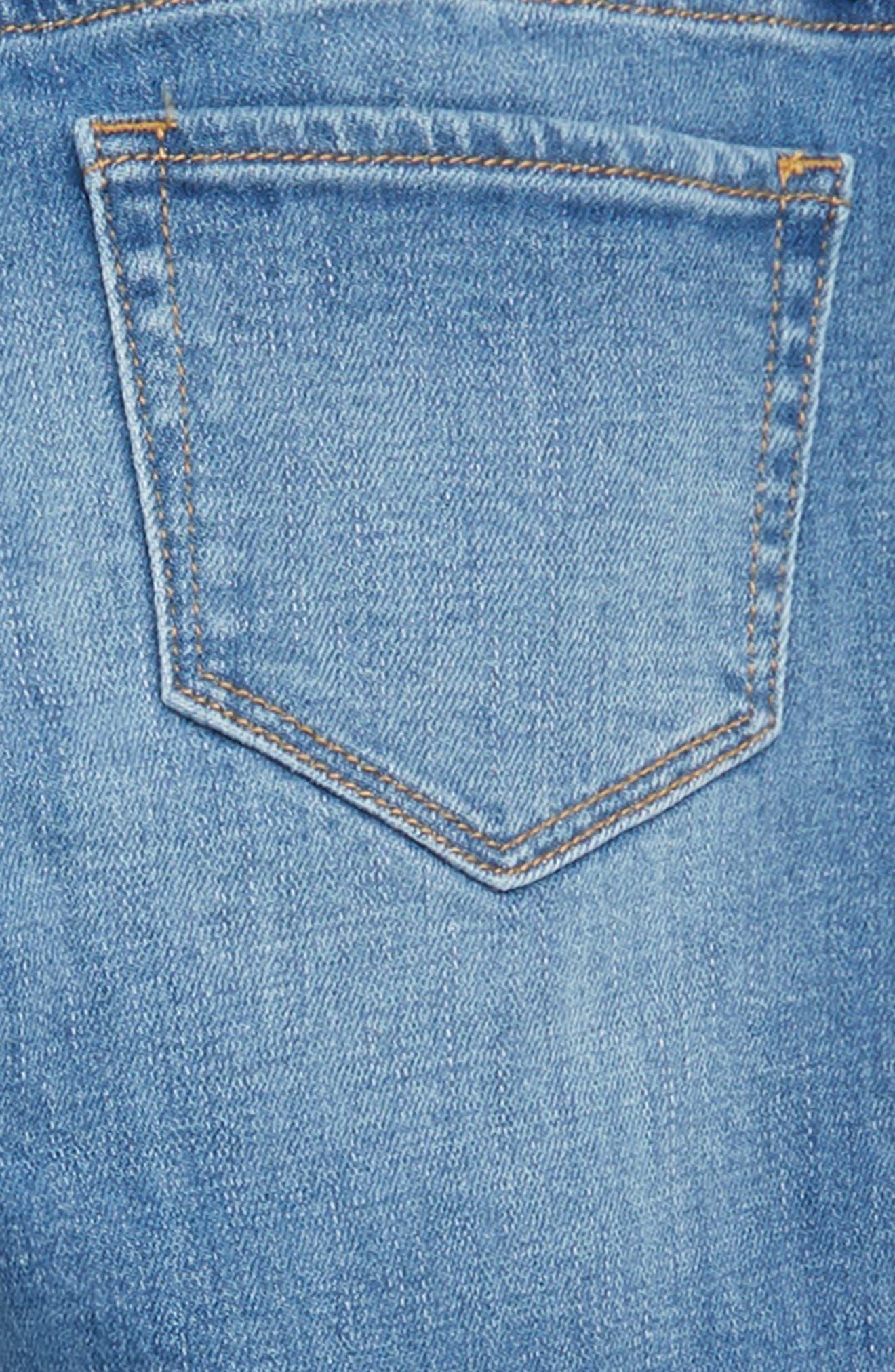 Embroidered Fray Hem Skinny Jeans,                             Alternate thumbnail 3, color,