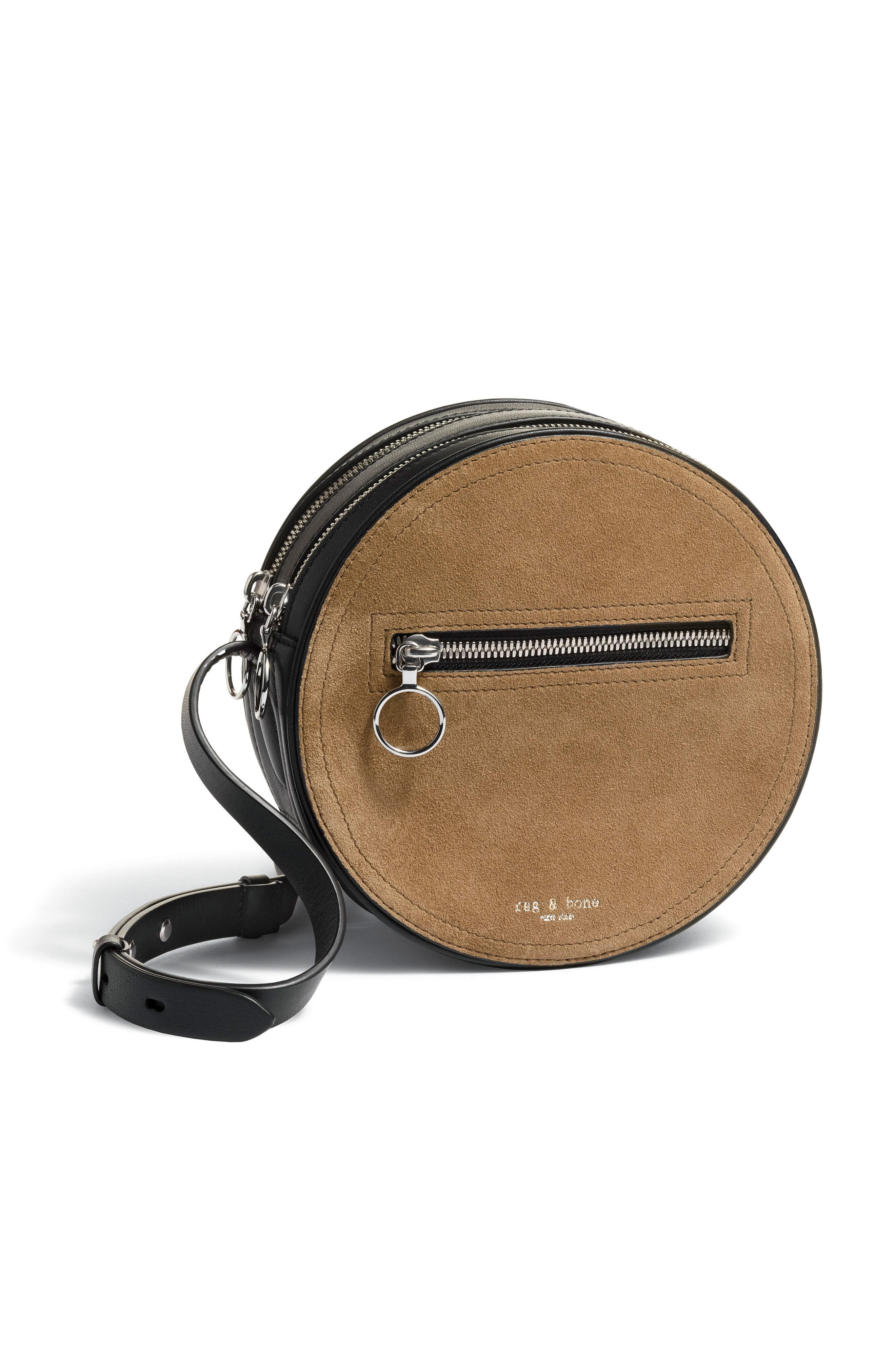 Suede & Leather Circle Crossbody Bag,                             Alternate thumbnail 9, color,                             200