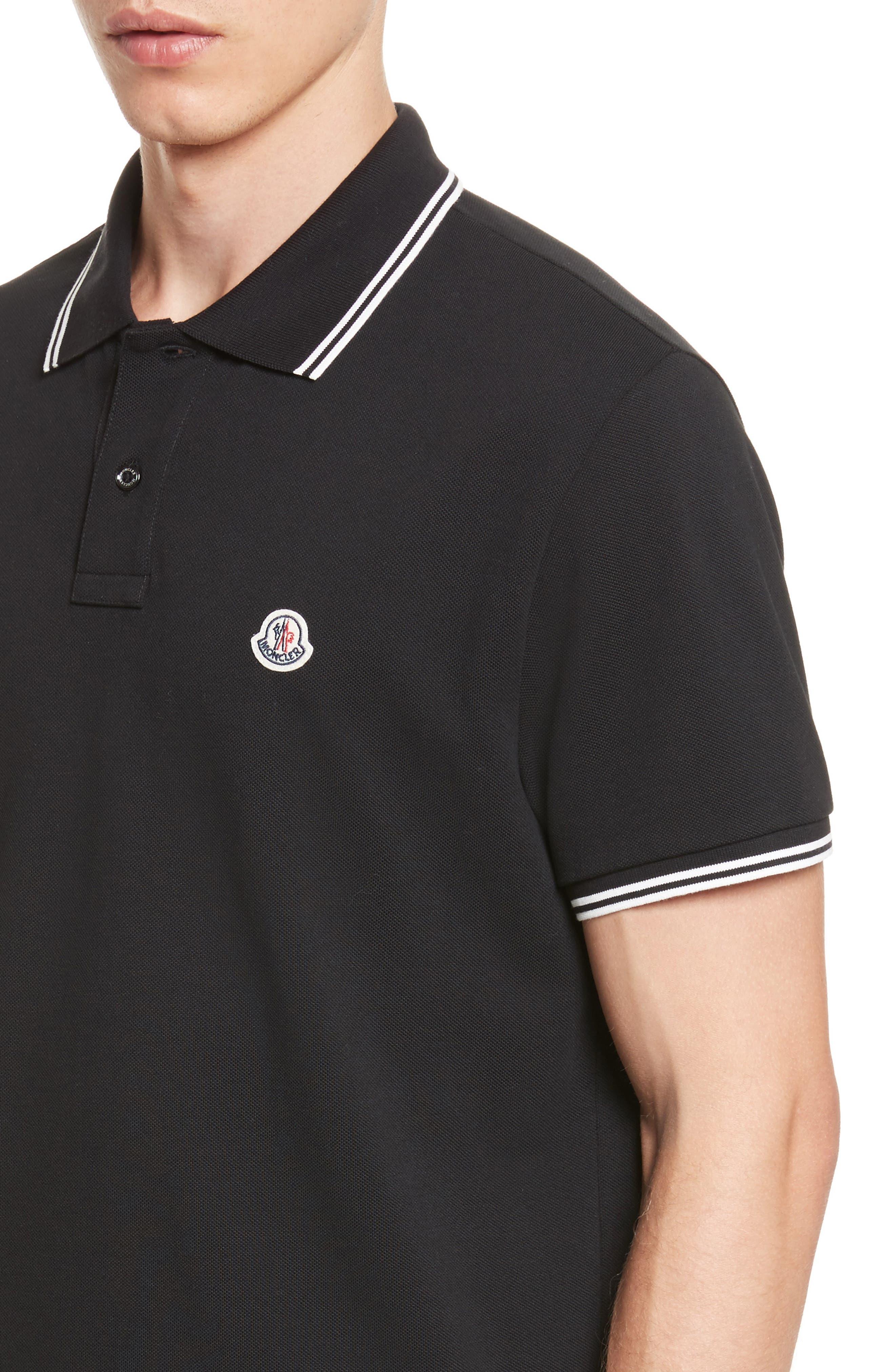 Striped Collar Polo Shirt,                             Alternate thumbnail 4, color,                             001