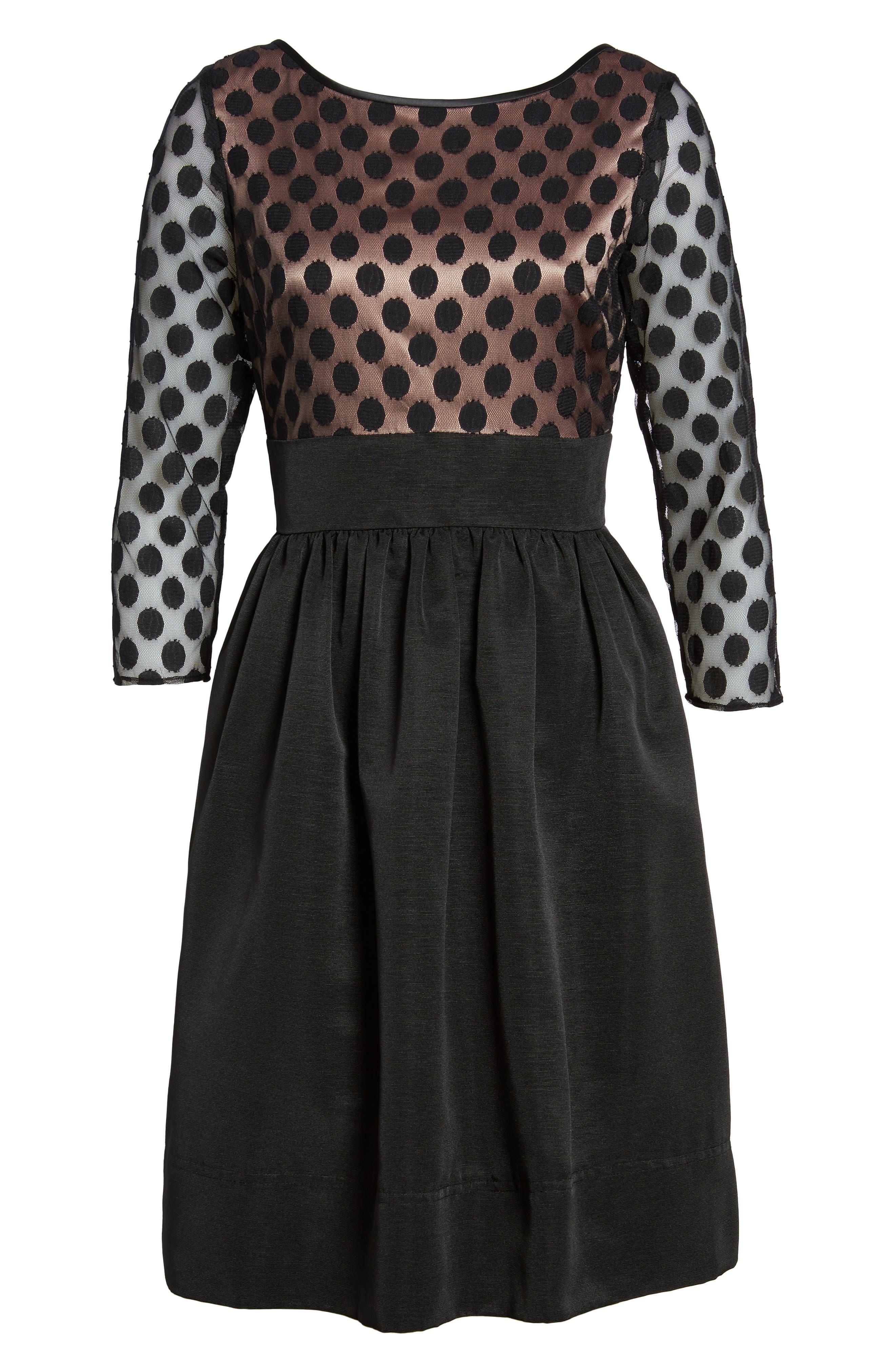 Dot Mesh Bodice Fit & Flare Dress,                             Alternate thumbnail 14, color,