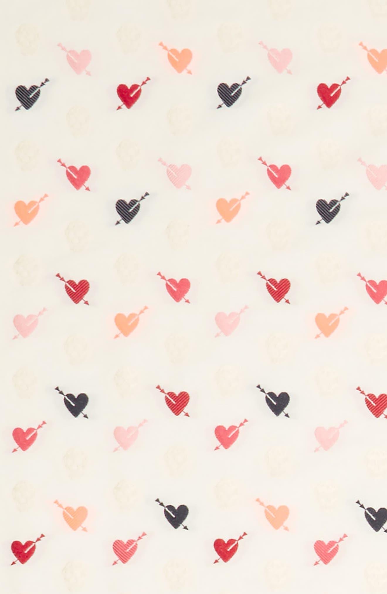 Mini Heart Skull Wool & Silk Shawl,                             Alternate thumbnail 3, color,                             IVORY/ RED