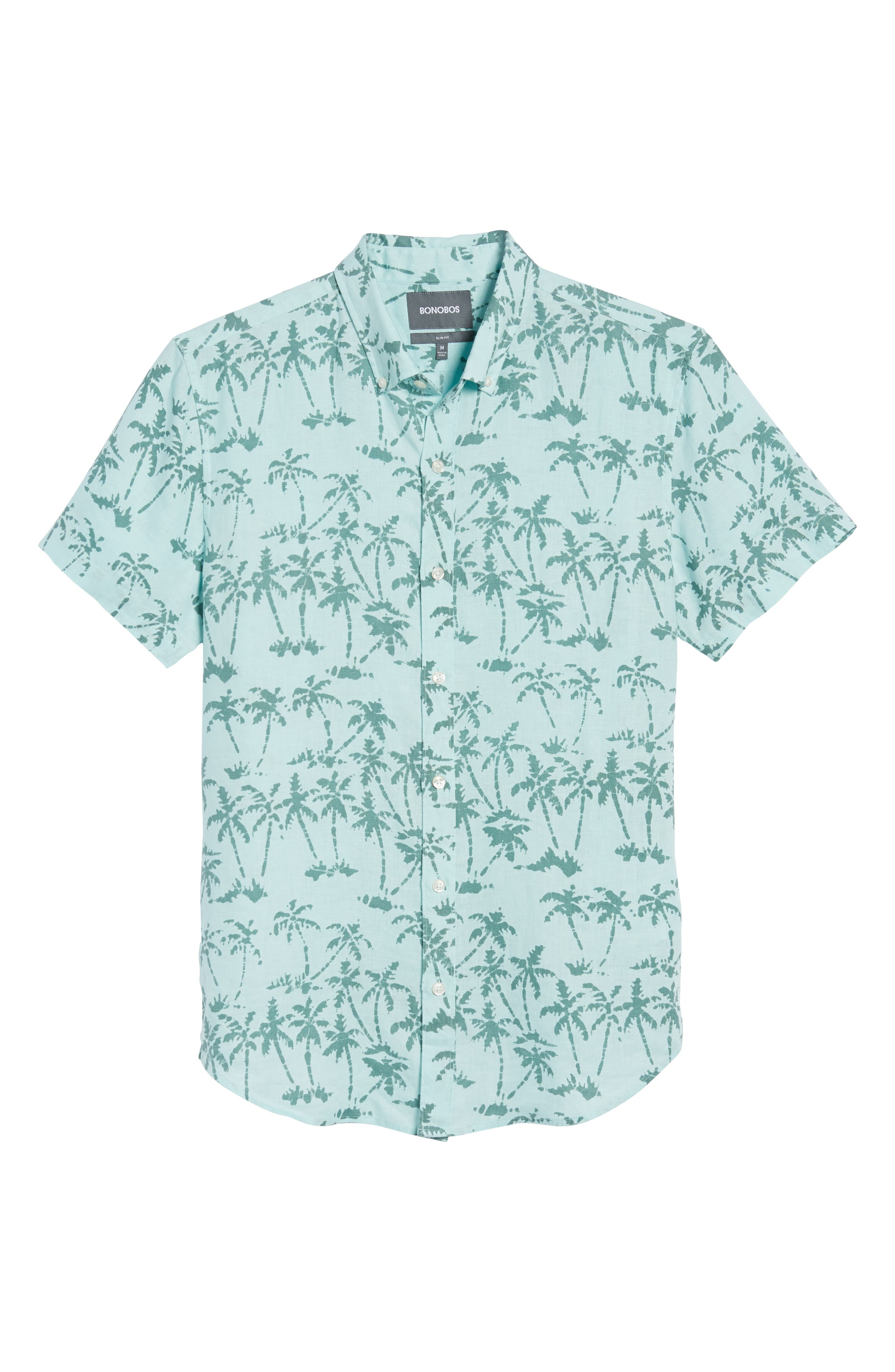 Riviera Slim Fit Palm Print Linen Sport Shirt,                             Alternate thumbnail 6, color,                             400