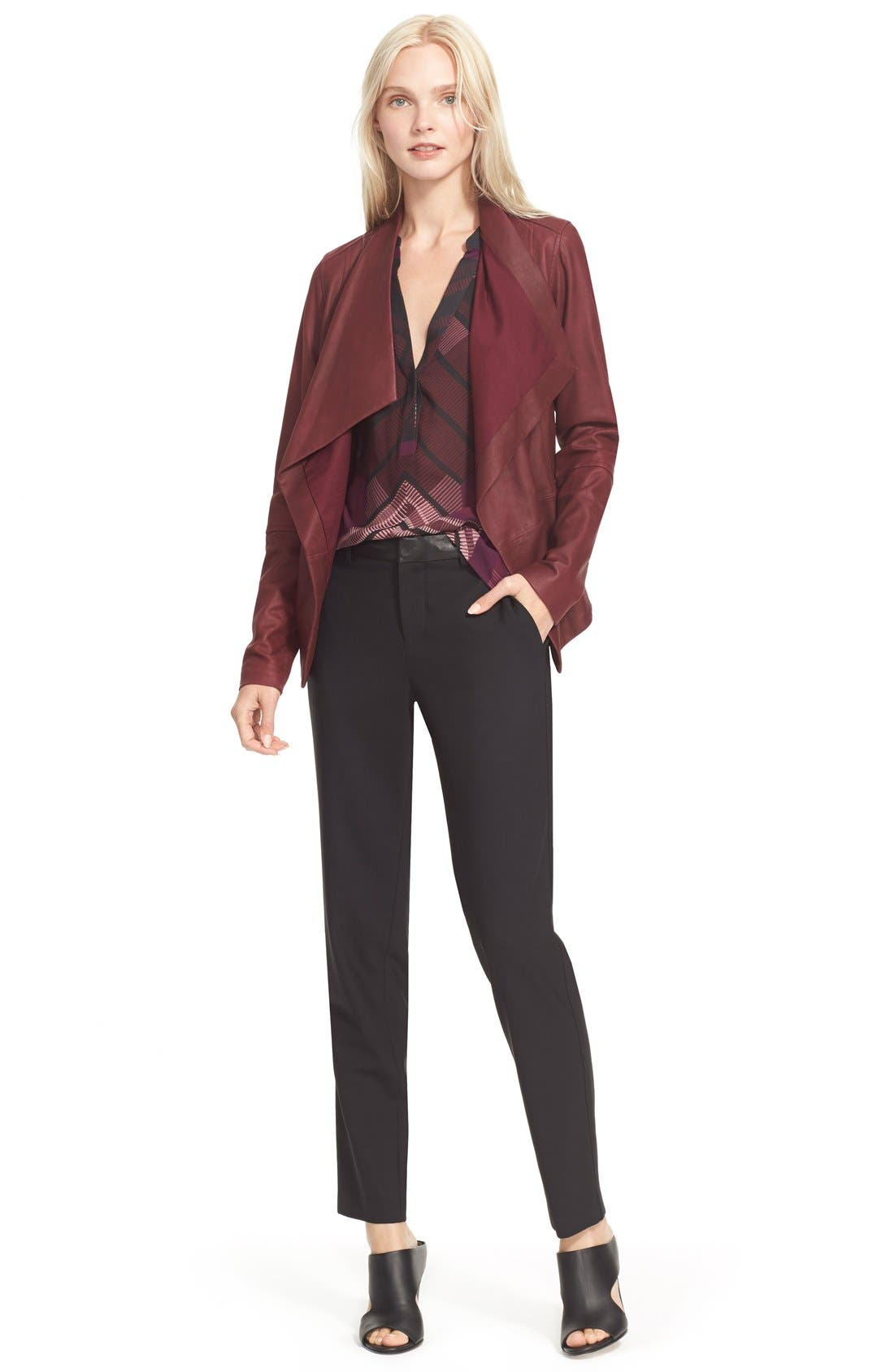 'Strapping' Leather Trim Trousers,                             Alternate thumbnail 3, color,                             001