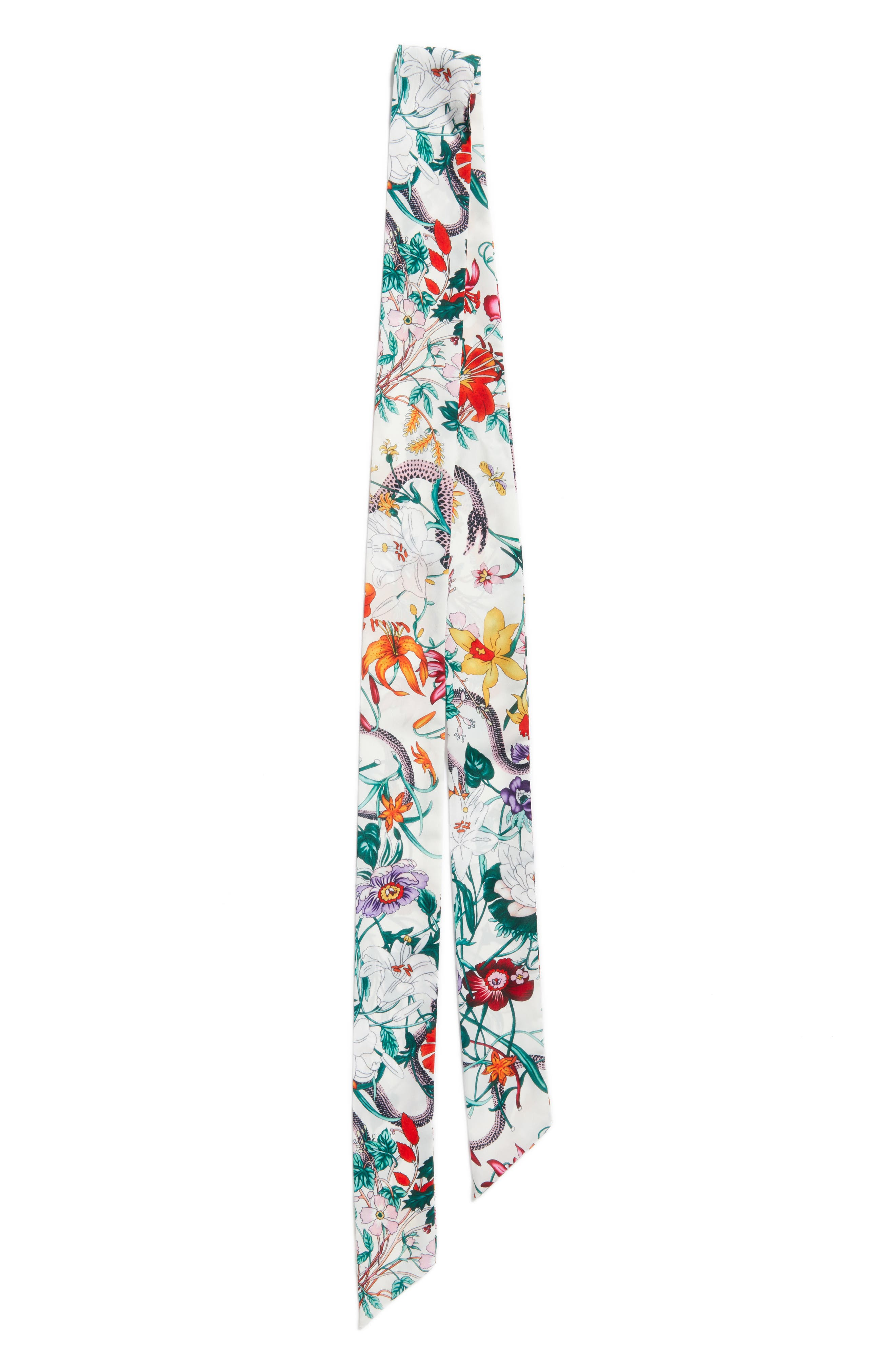 Floral Print Skinny Scarf,                             Alternate thumbnail 3, color,