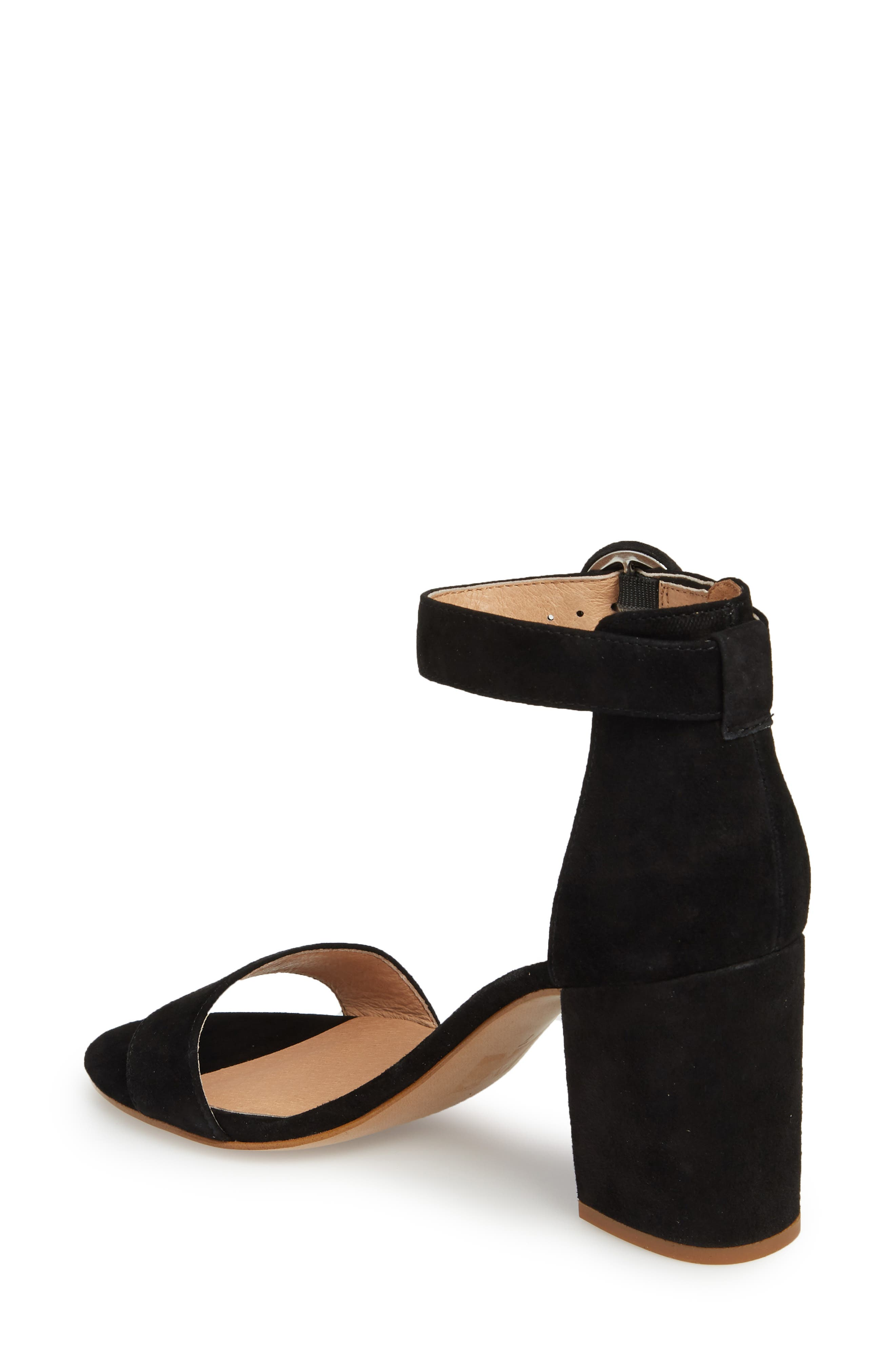 The Regina Ankle Strap Sandal,                             Alternate thumbnail 2, color,                             TRUE BLACK SUEDE