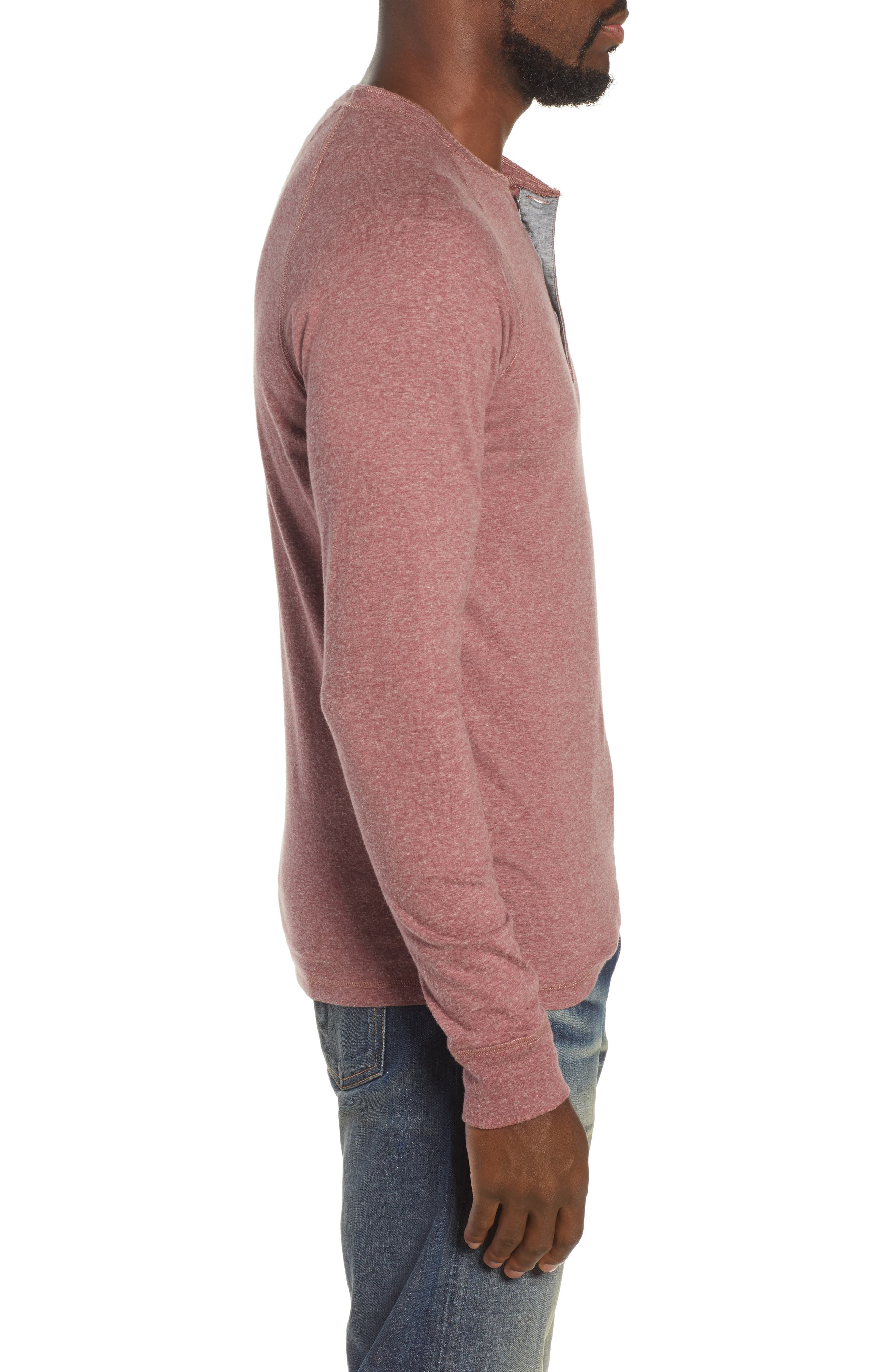 Luxe Heather Knit Organic Cotton Henley,                             Alternate thumbnail 3, color,                             BURGUNDY