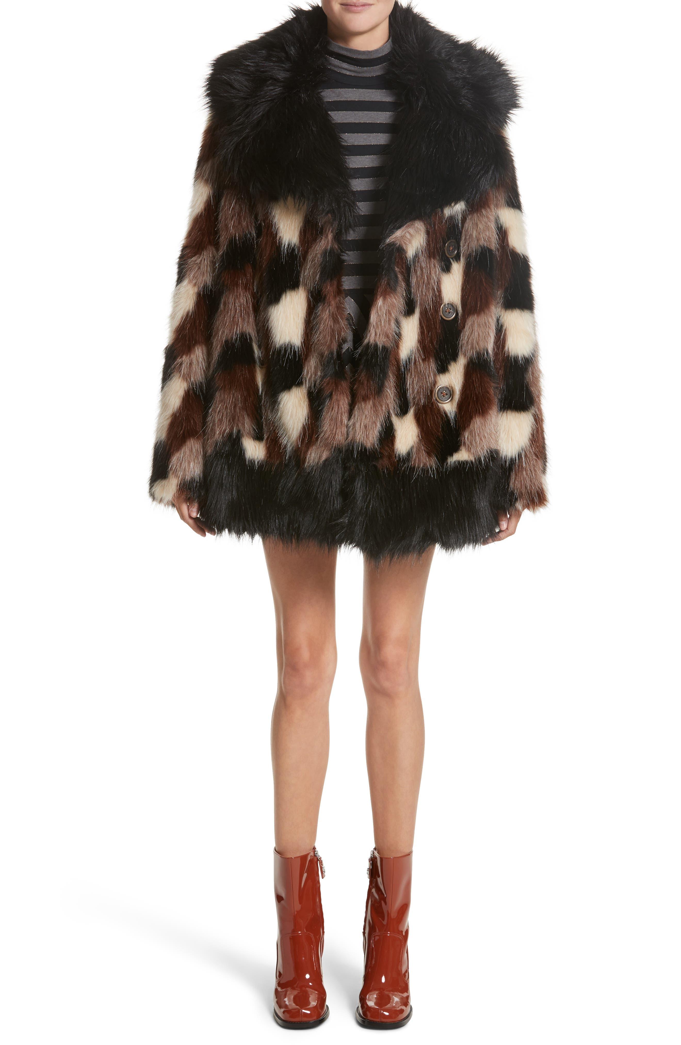 Patchwork Faux Fur Jacket,                             Alternate thumbnail 7, color,