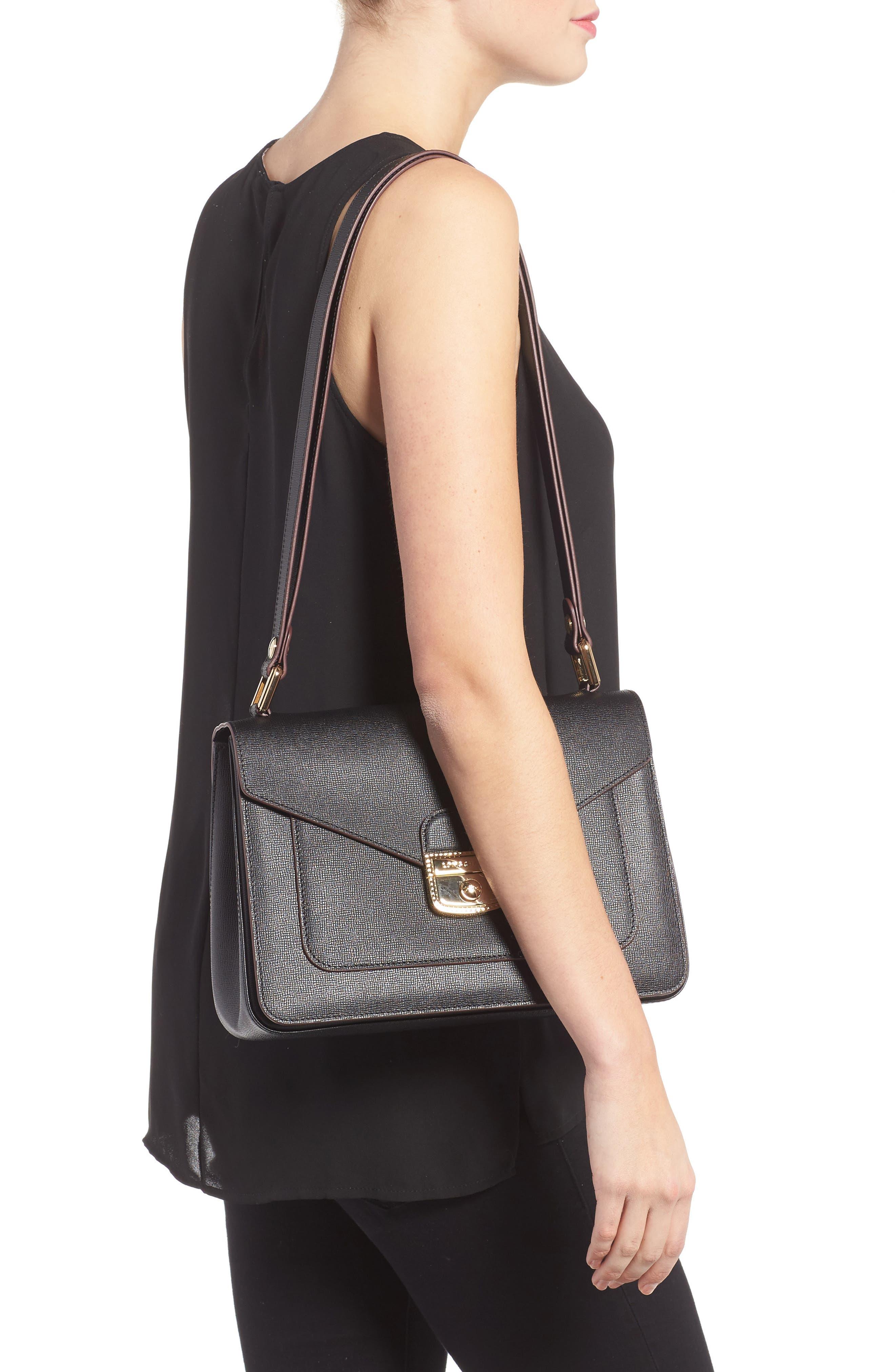 Pliage Heritage Leather Shoulder Bag,                             Alternate thumbnail 2, color,                             BLACK