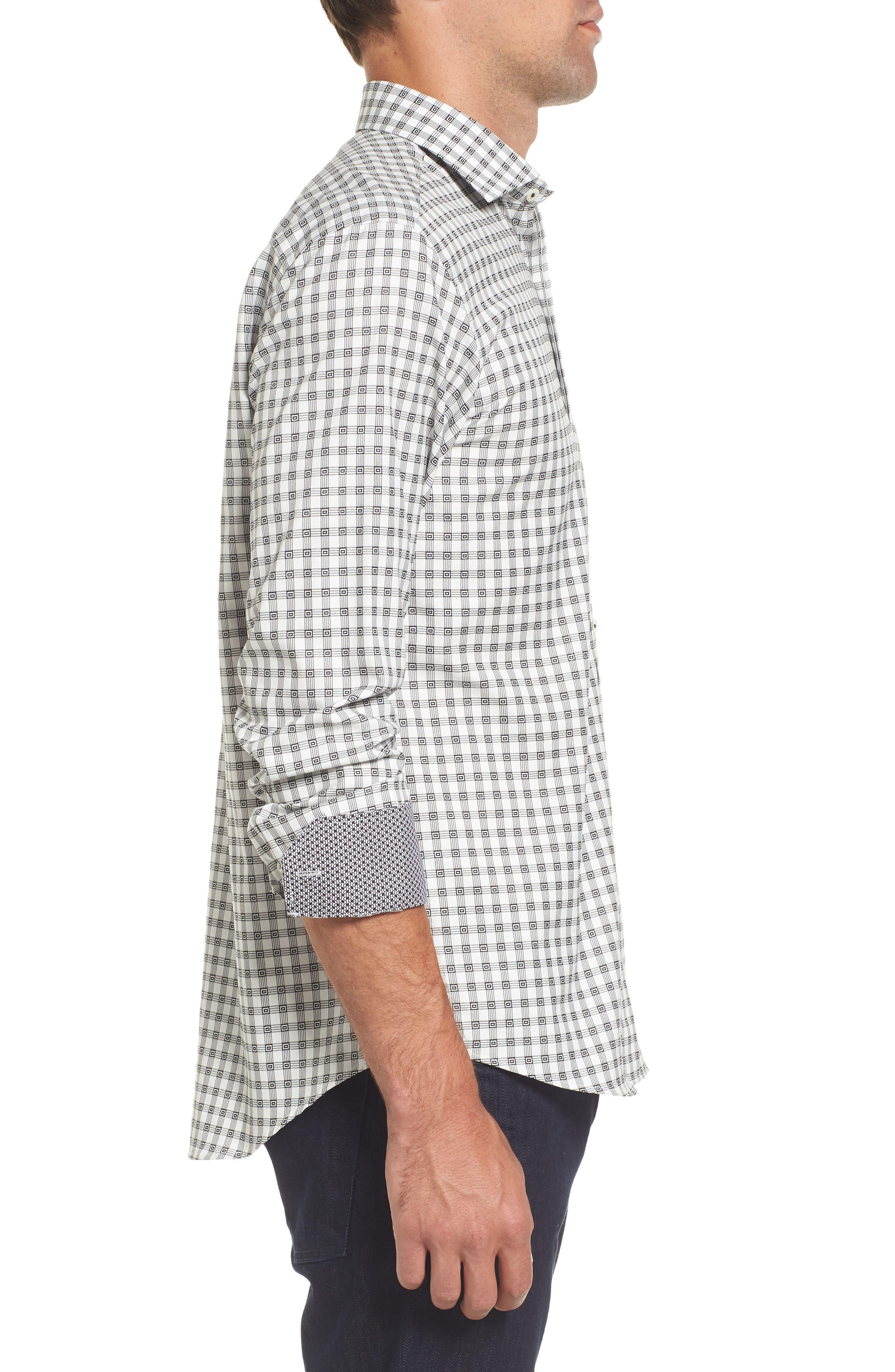 Shaped Fit Check Sport Shirt,                             Alternate thumbnail 3, color,                             020