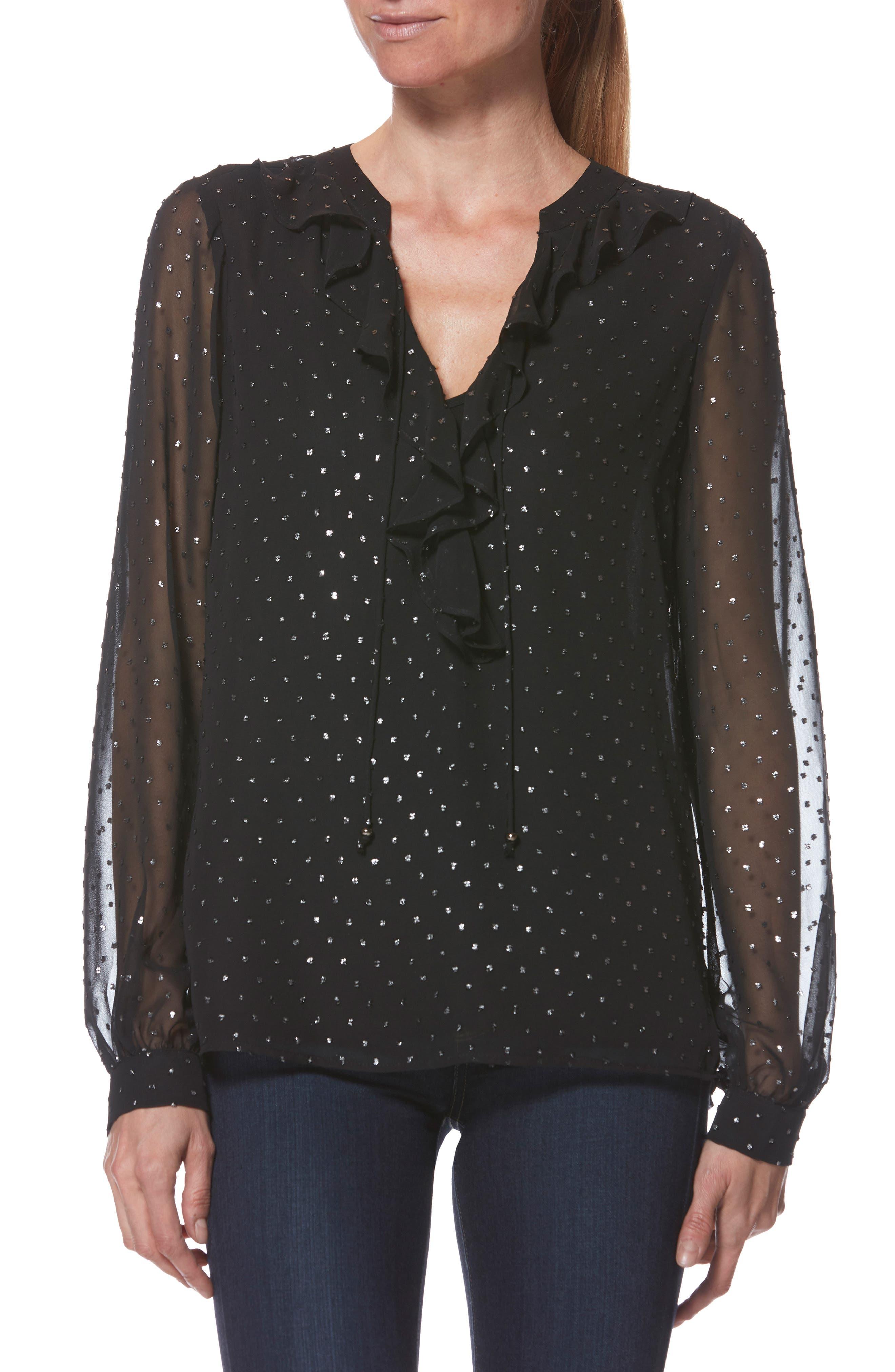 PAIGE Marella Shimmer Dot Blouse, Main, color, BLACK