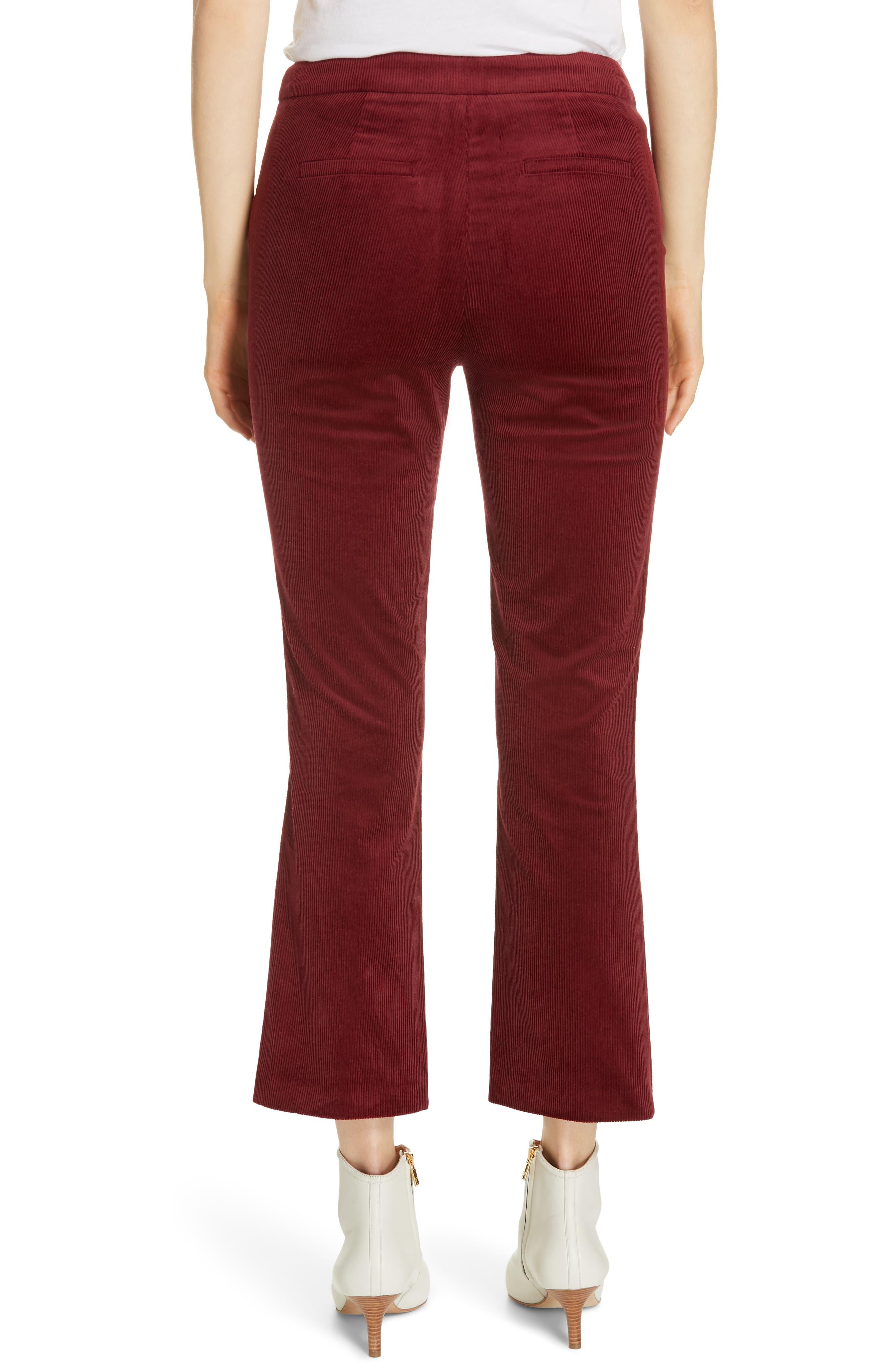 Marcena Velvet Crop Flared Pants,                             Alternate thumbnail 2, color,                             BLACKBERRY