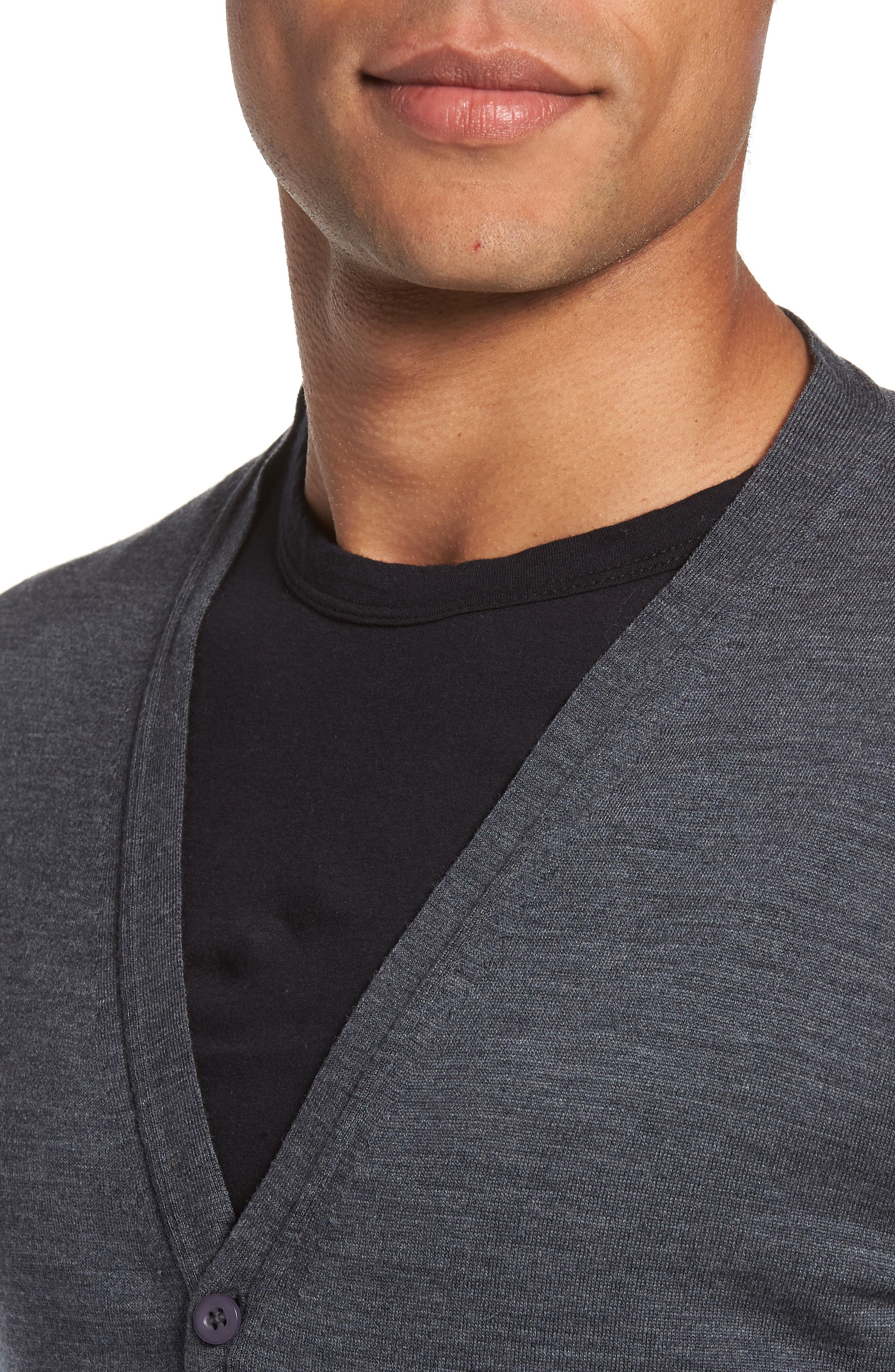 Standard Fit Wool Cardigan,                             Alternate thumbnail 4, color,                             020