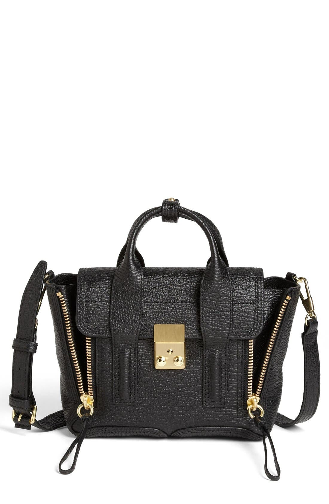 'Mini Pashli' Leather Satchel,                         Main,                         color, BLACK/ GOLD HDWR