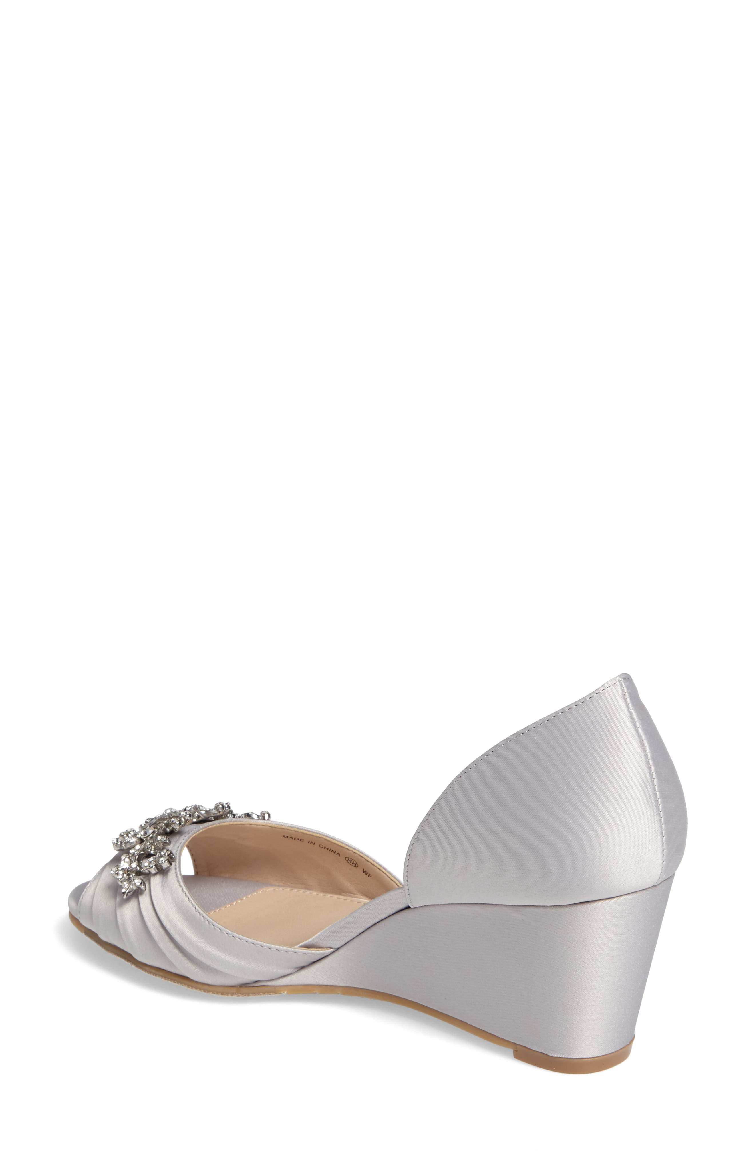 Emiko d'Orsay Wedge Pump,                             Alternate thumbnail 2, color,                             SILVER SATIN