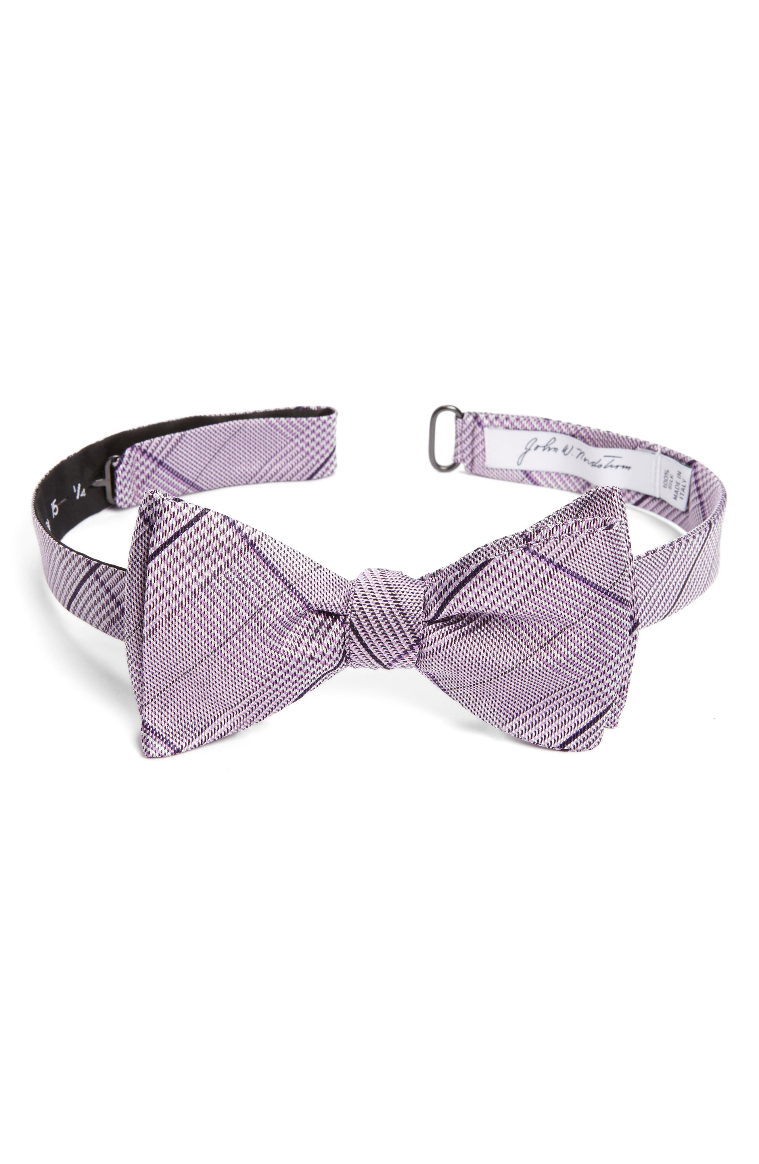 Plaid Silk Bow Tie,                             Main thumbnail 1, color,
