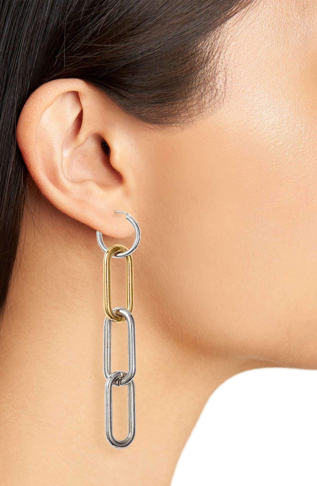 Chain Link Linear Earrings,                             Alternate thumbnail 2, color,                             040