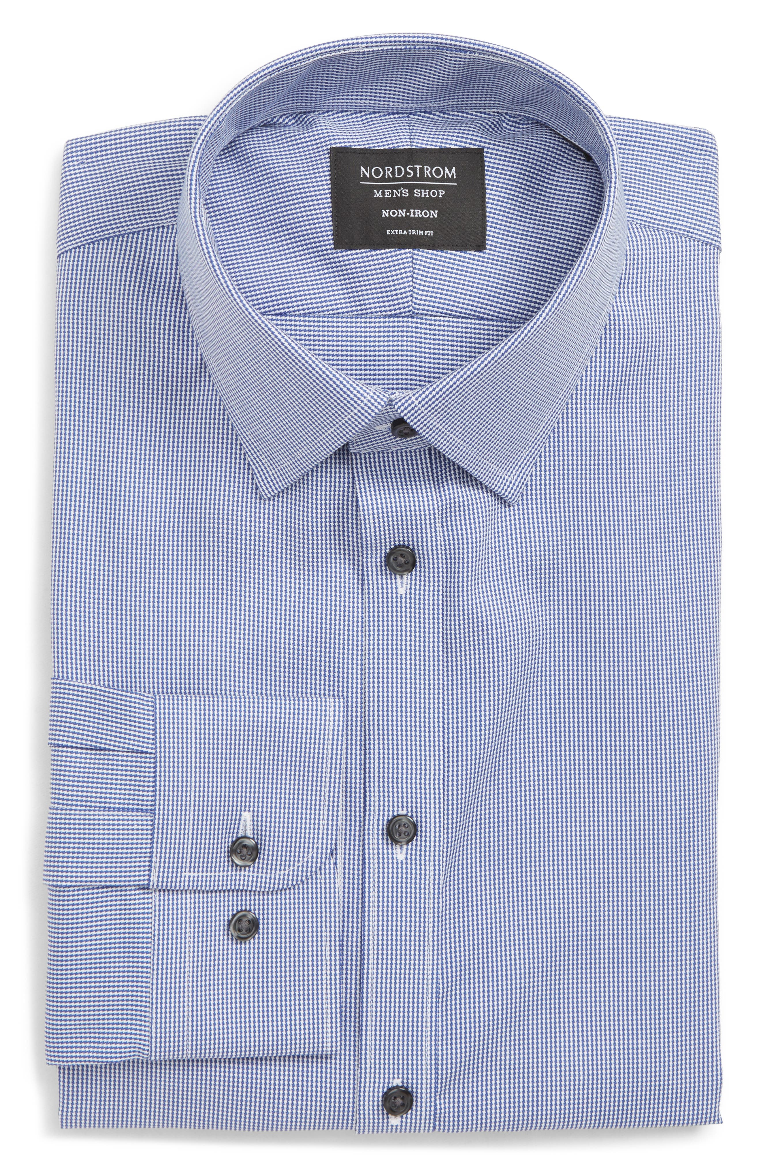 Extra Trim Fit Non-Iron Solid Dress Shirt,                         Main,                         color, NAVY DRESS