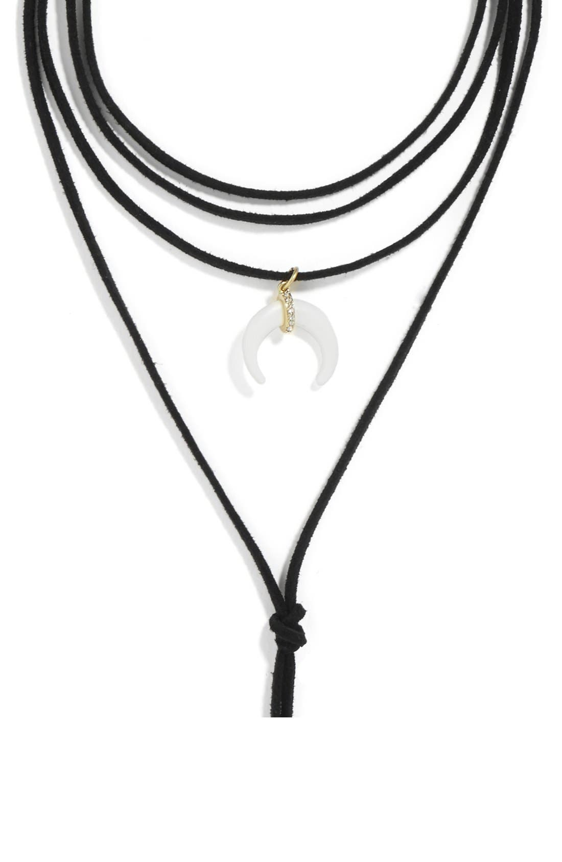 Moana Lariat Choker Necklace,                             Alternate thumbnail 4, color,                             001