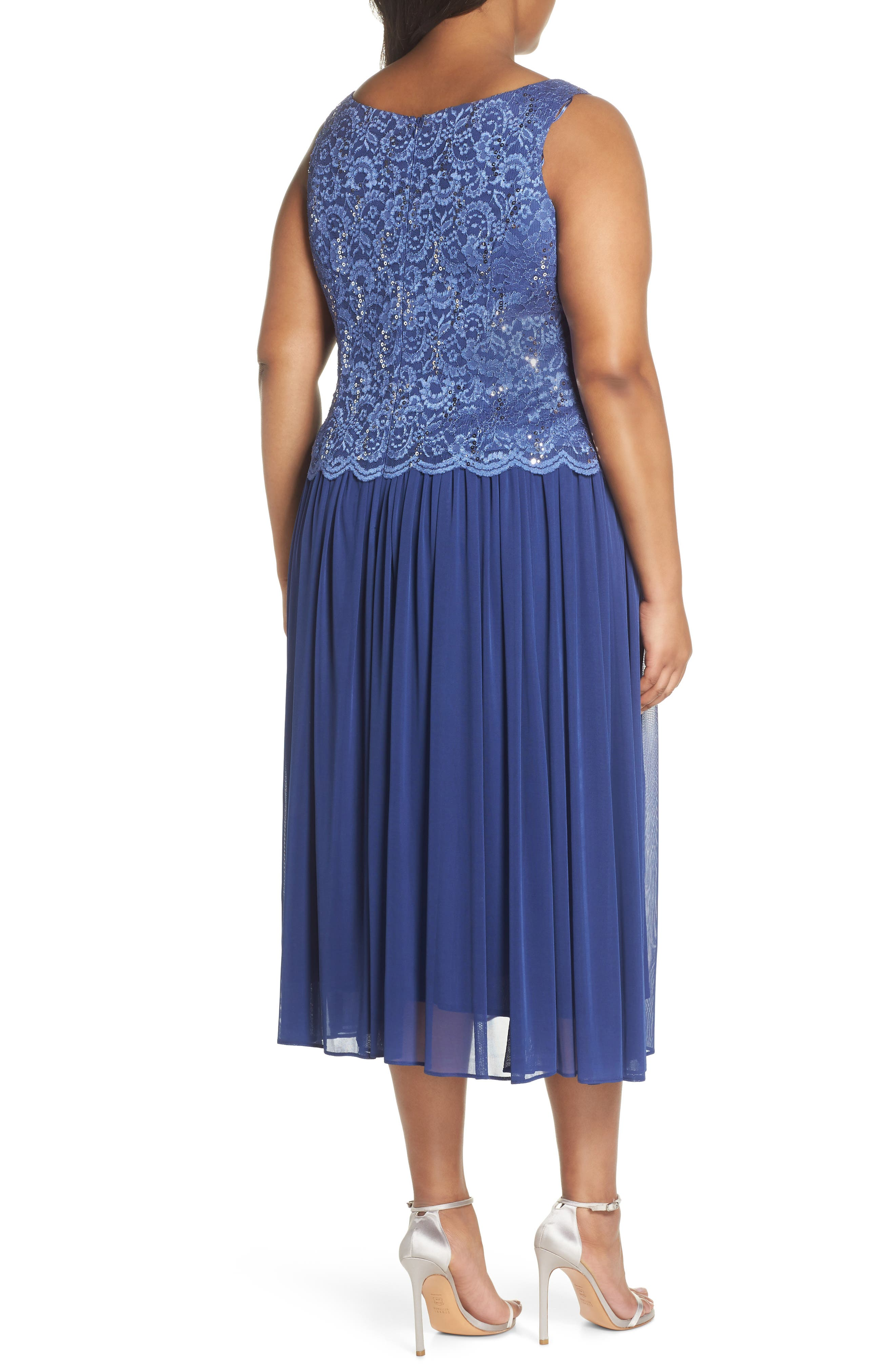 Lace Bodice Dress with Jacket,                             Alternate thumbnail 4, color,                             543