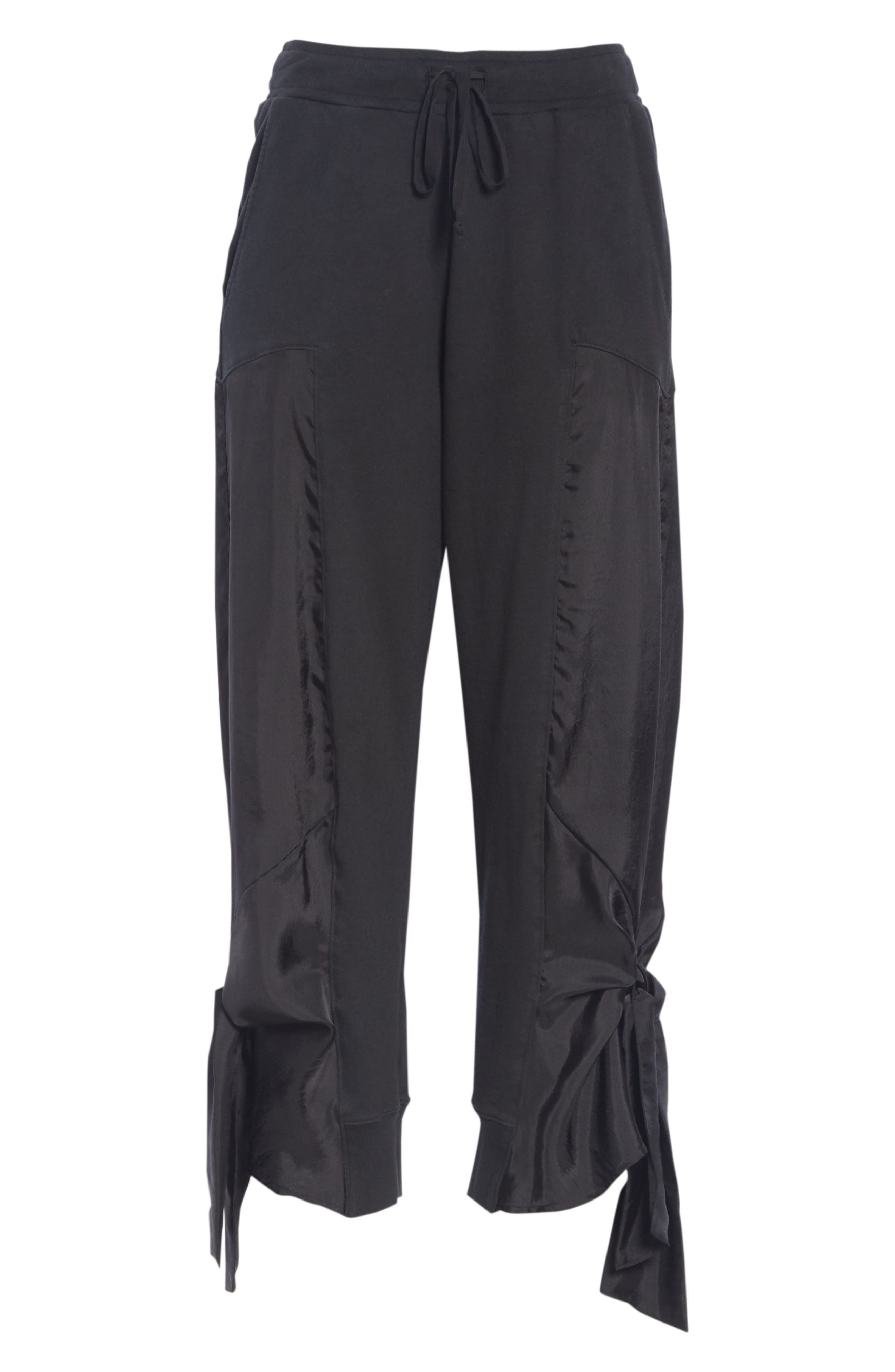 Side Tie Jogger Pants,                             Alternate thumbnail 7, color,                             BLACK