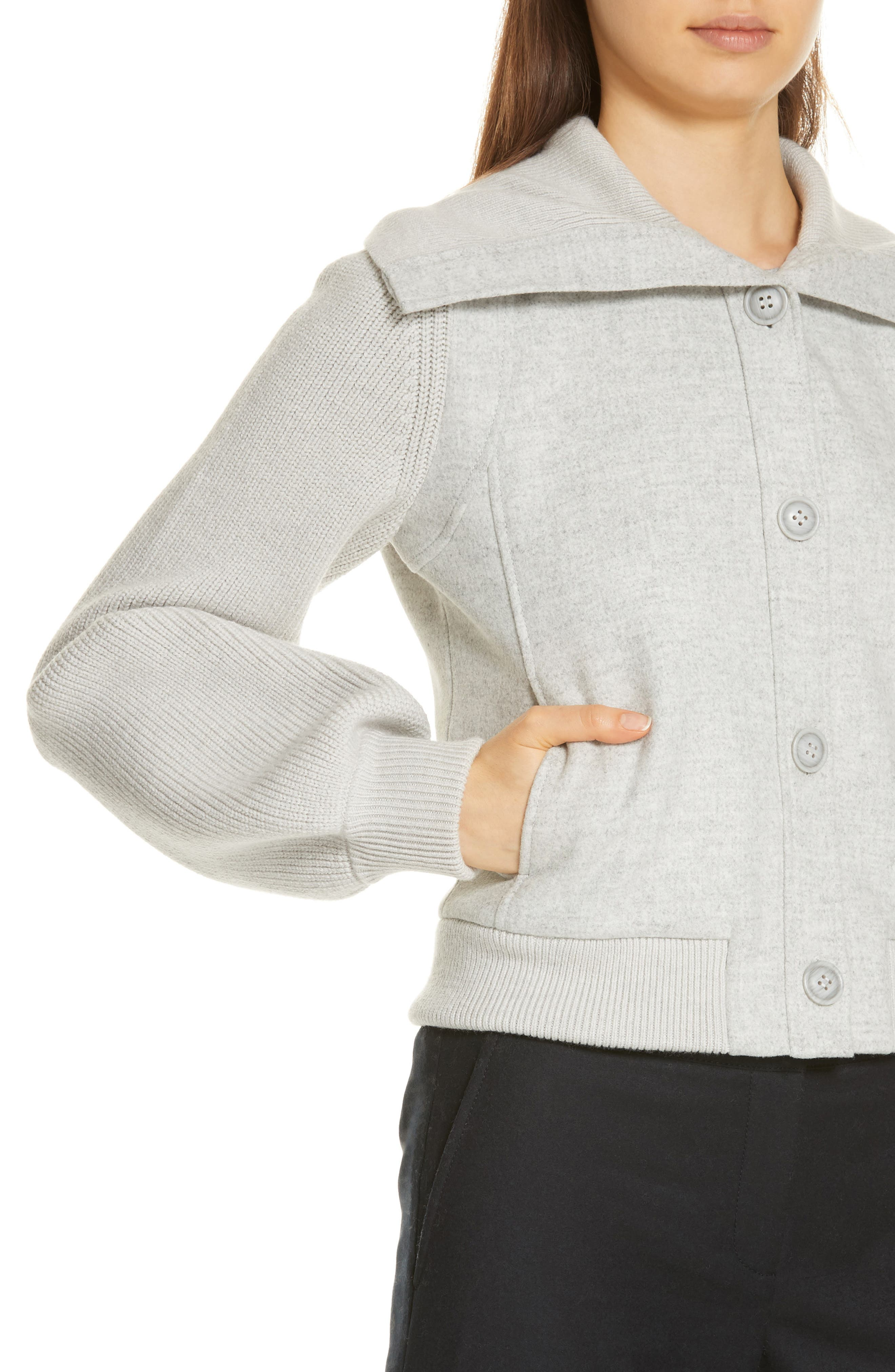 Sweater Detail Jacket,                             Alternate thumbnail 4, color,                             GREY CLAY HEATHER