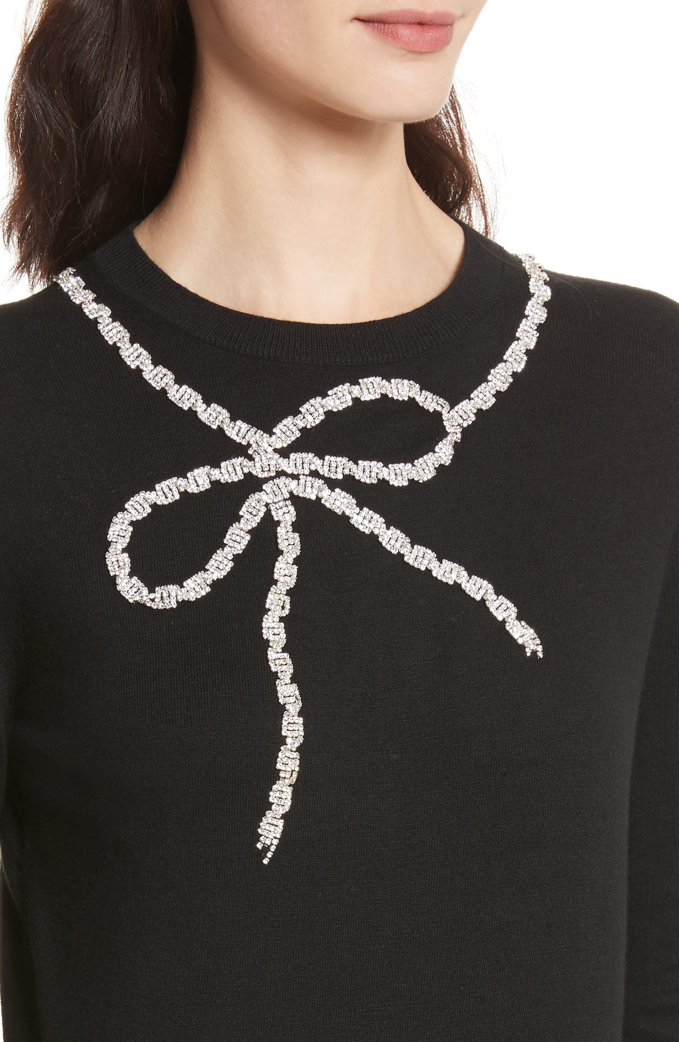 Sparkle Bow Sweater,                             Alternate thumbnail 4, color,                             001