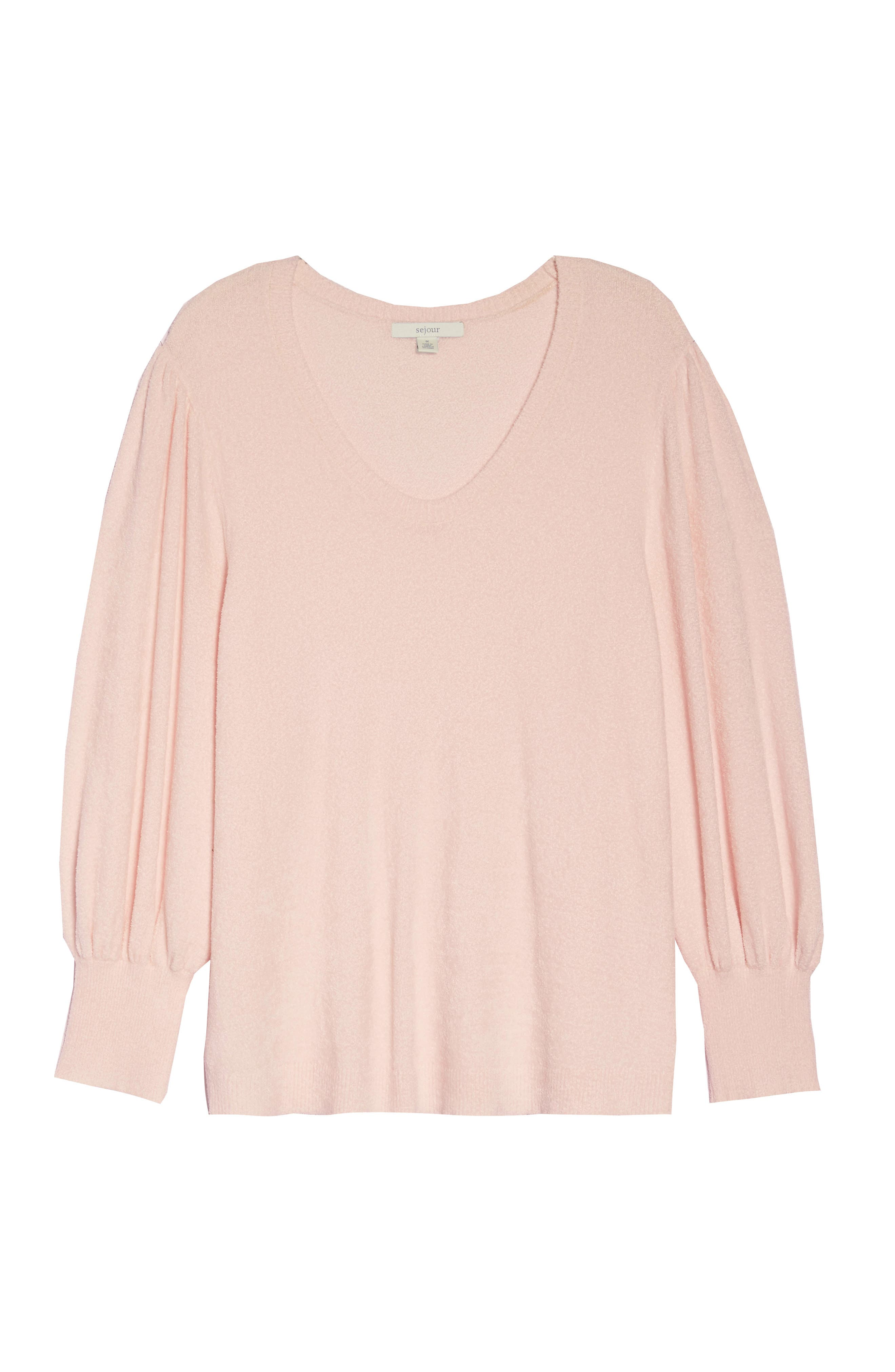Puff Sleeve Sweater,                             Alternate thumbnail 6, color,                             PINK HERO