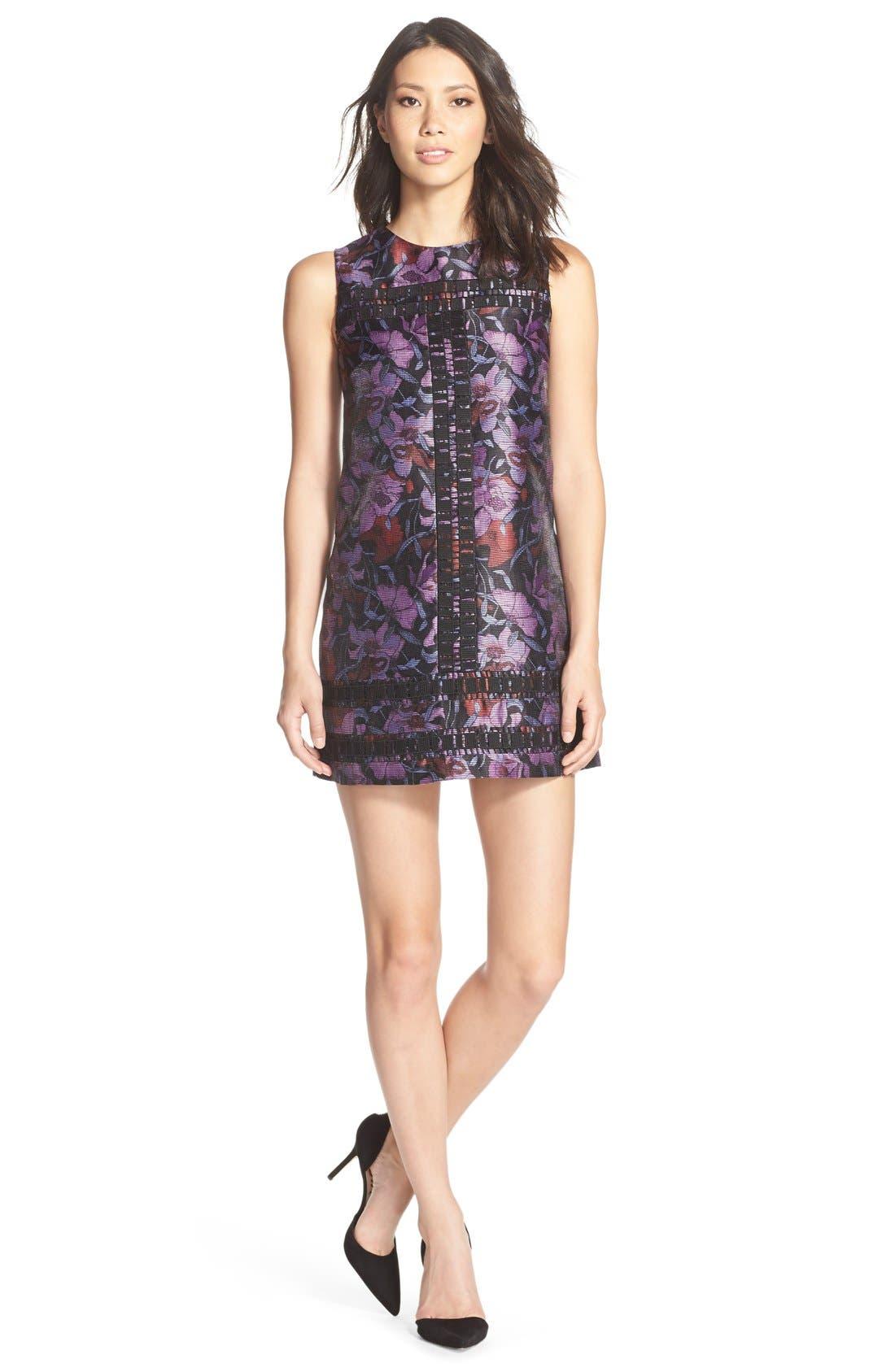 Iris Print Shift Dress, Main, color, 500