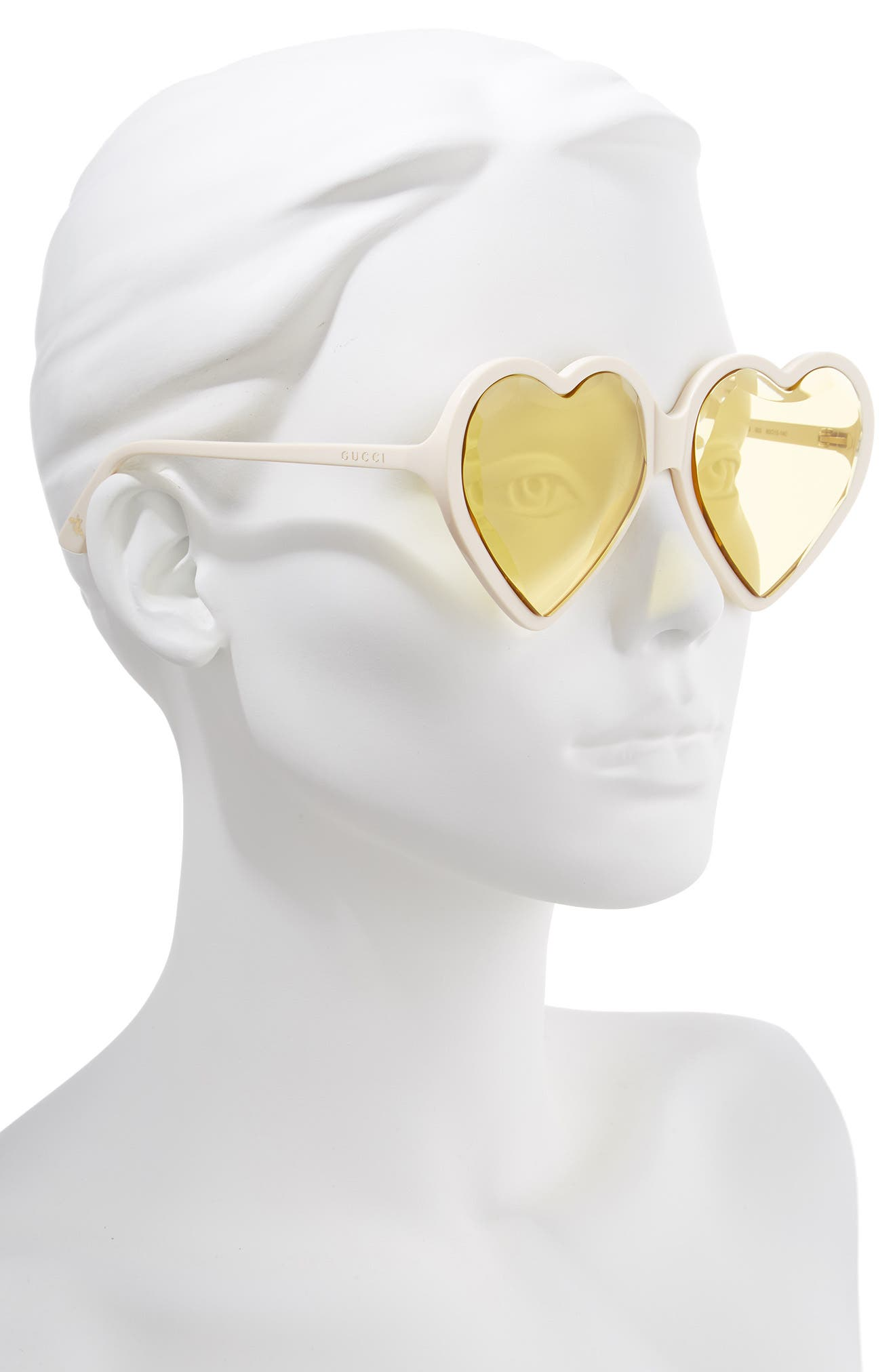 GUCCI,                             60mm Heart Sunglasses,                             Alternate thumbnail 2, color,                             IVORY/ YELLOW