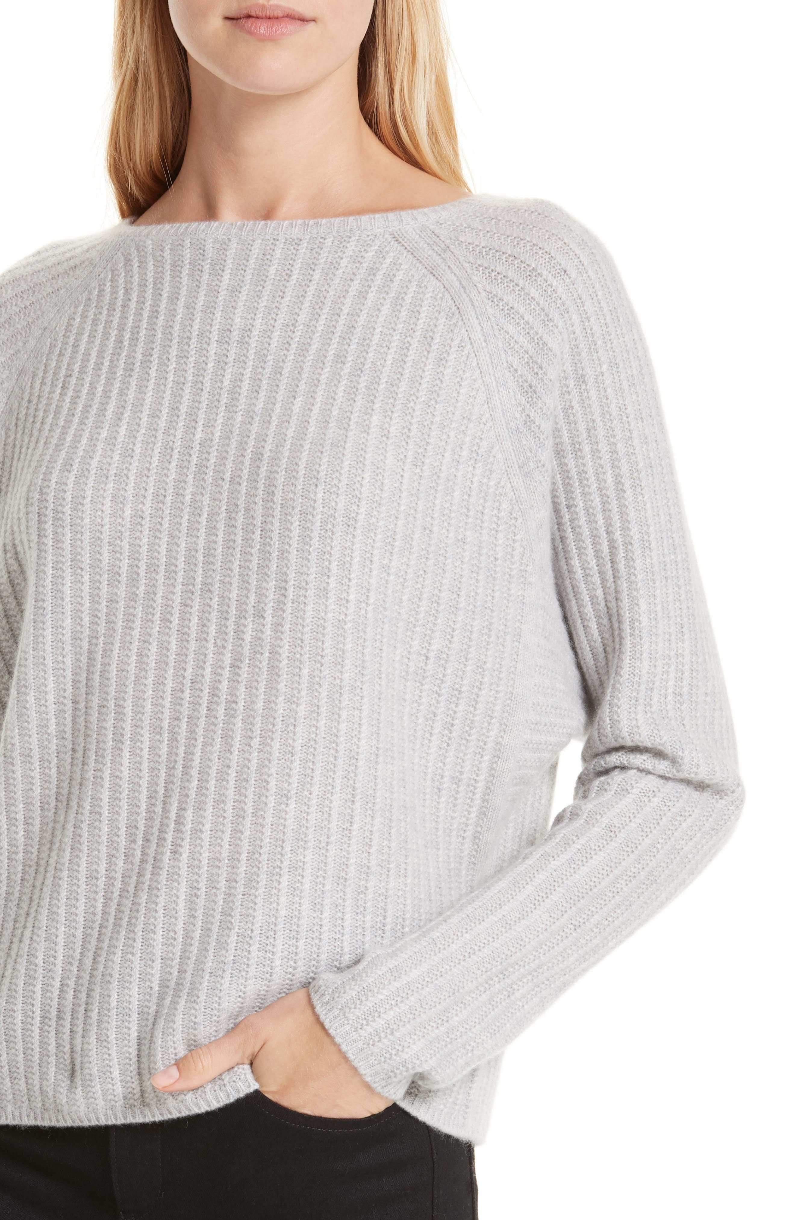 Textured Cashmere Sweater,                             Alternate thumbnail 4, color,                             GREY CLAY HEATHER