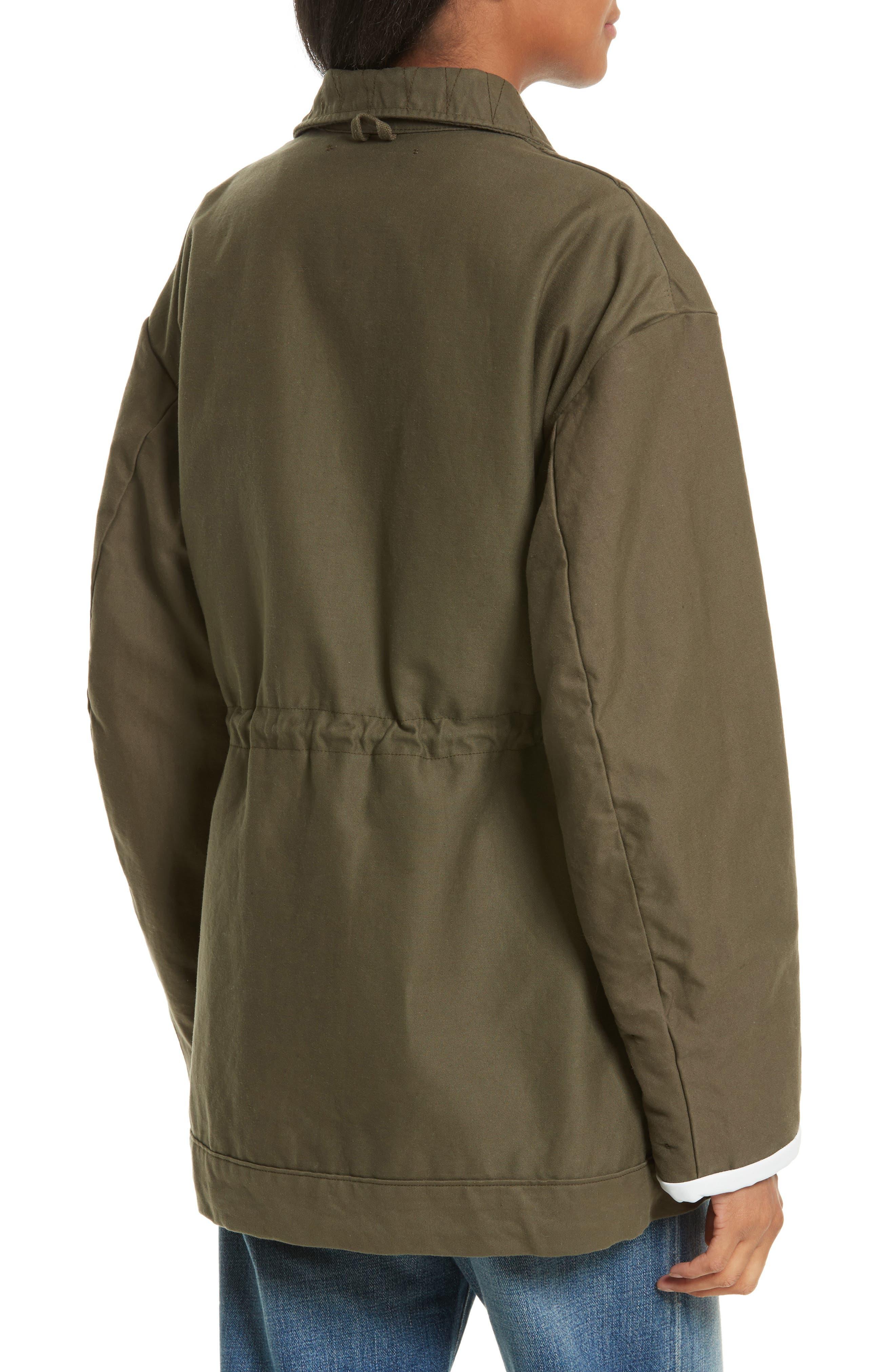Reversible Vintage Army Coat with Genuine Fox Fur Trim,                             Alternate thumbnail 2, color,