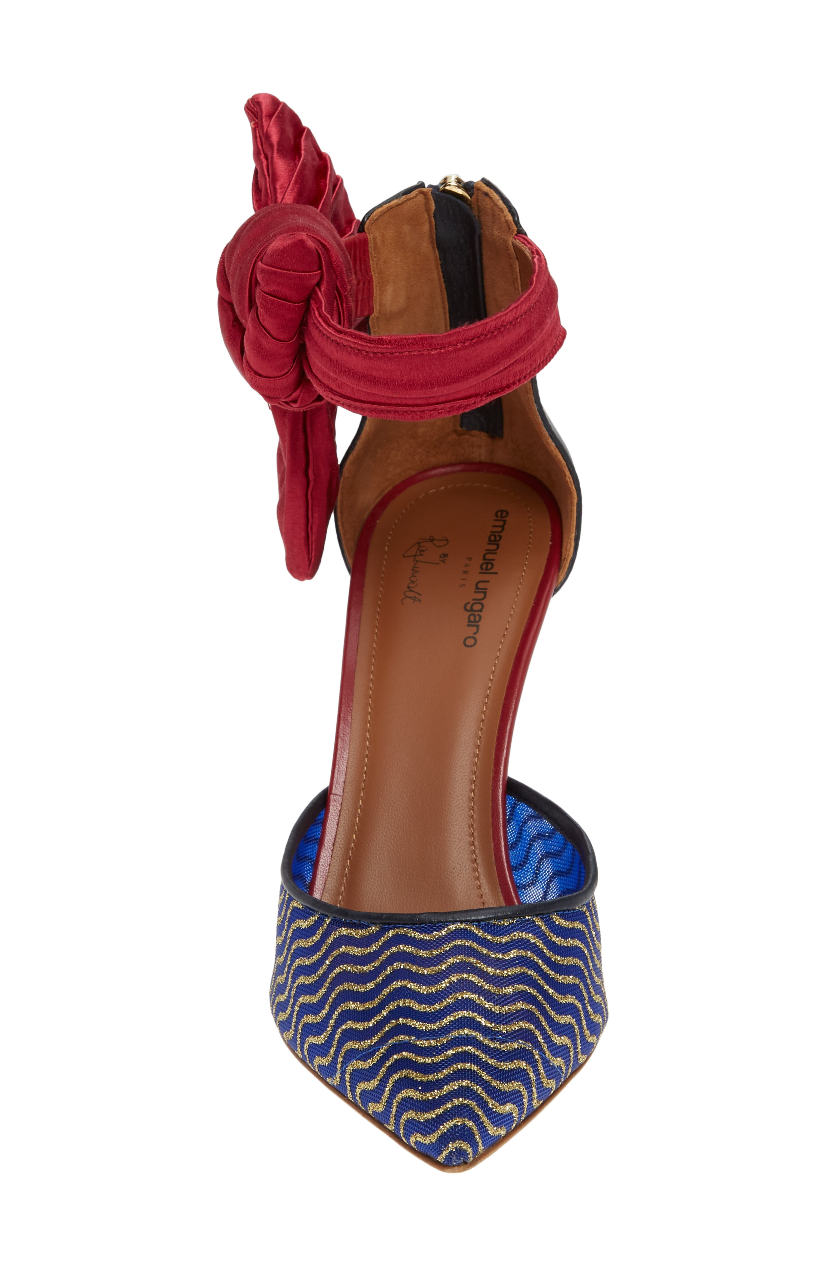 Elle Bow Pump,                             Alternate thumbnail 4, color,                             BLUE/ RED