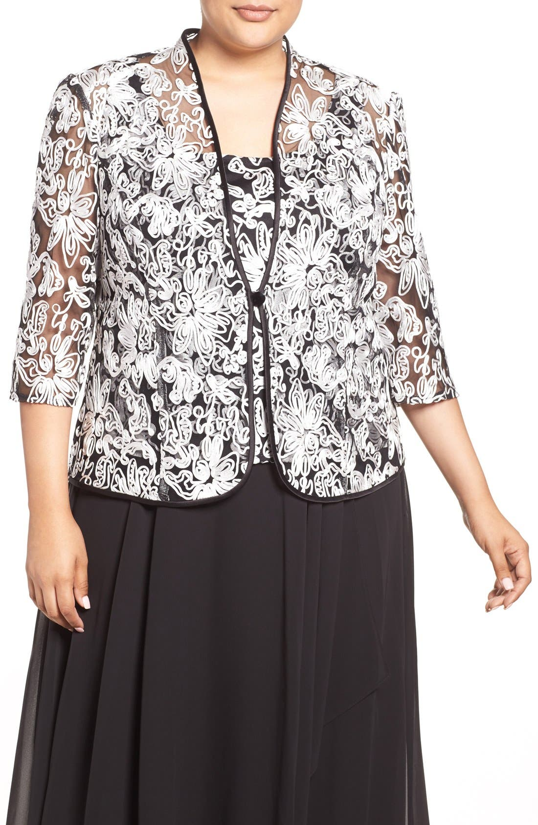 Embroidered Twinset,                             Main thumbnail 1, color,                             BLACK/ WHITE