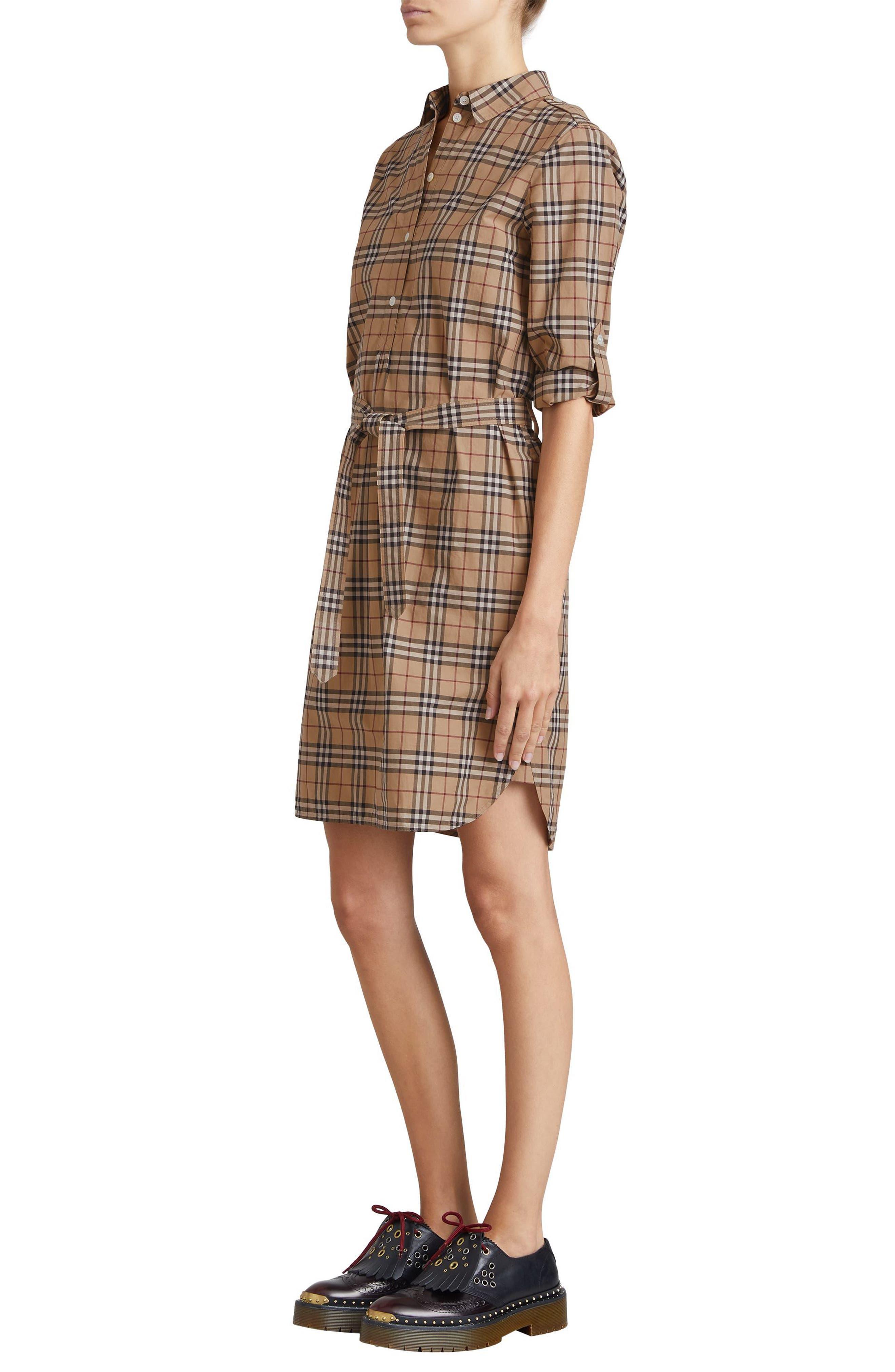 Kelsy Cotton Check Shirtdress,                             Alternate thumbnail 3, color,                             CAMEL