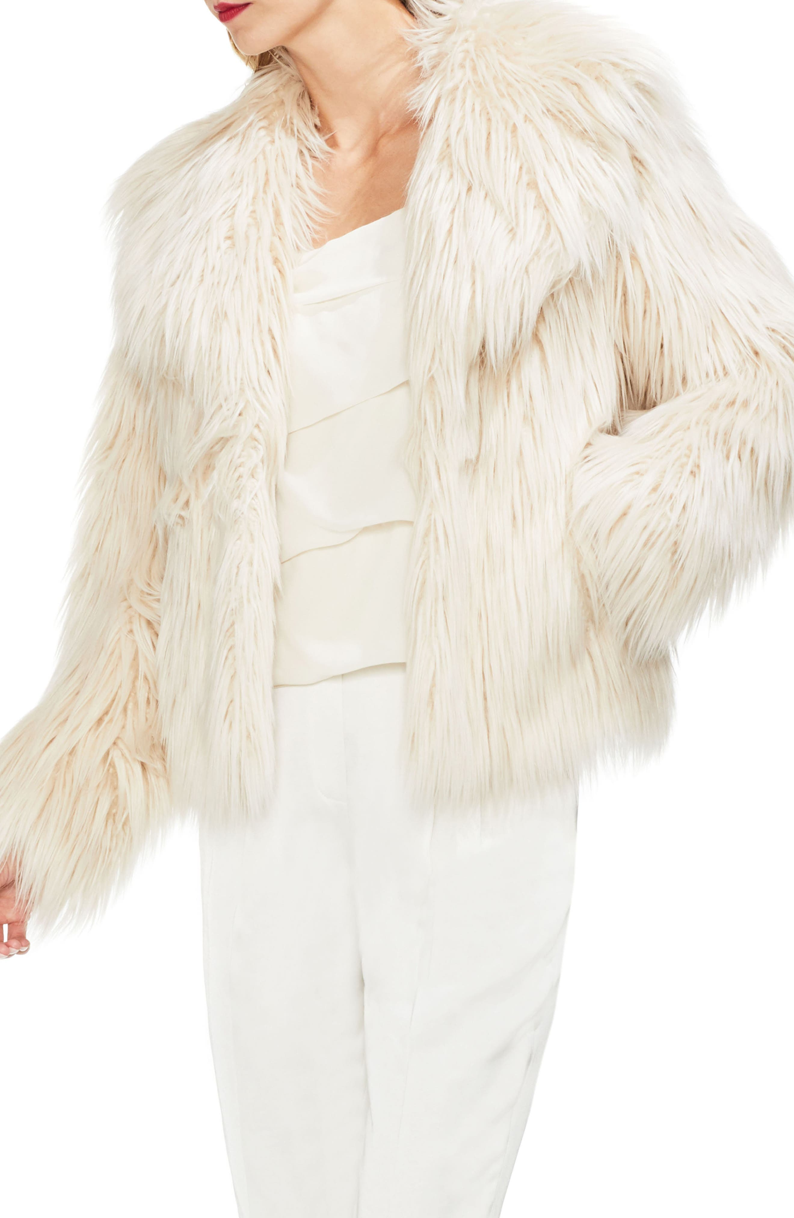 Faux Fur Jacket, Main, color, PEARL IVORY