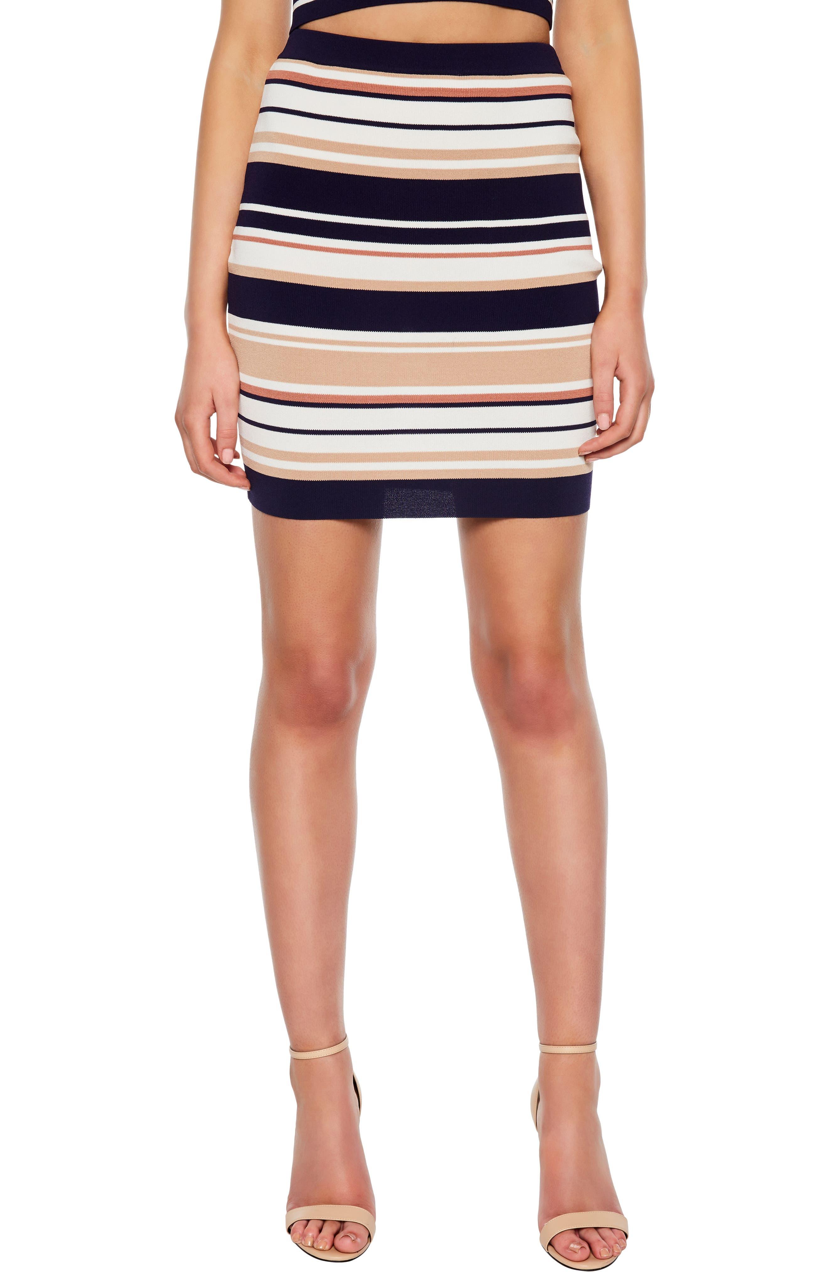 Bardot Multistripe Skirt, Blue