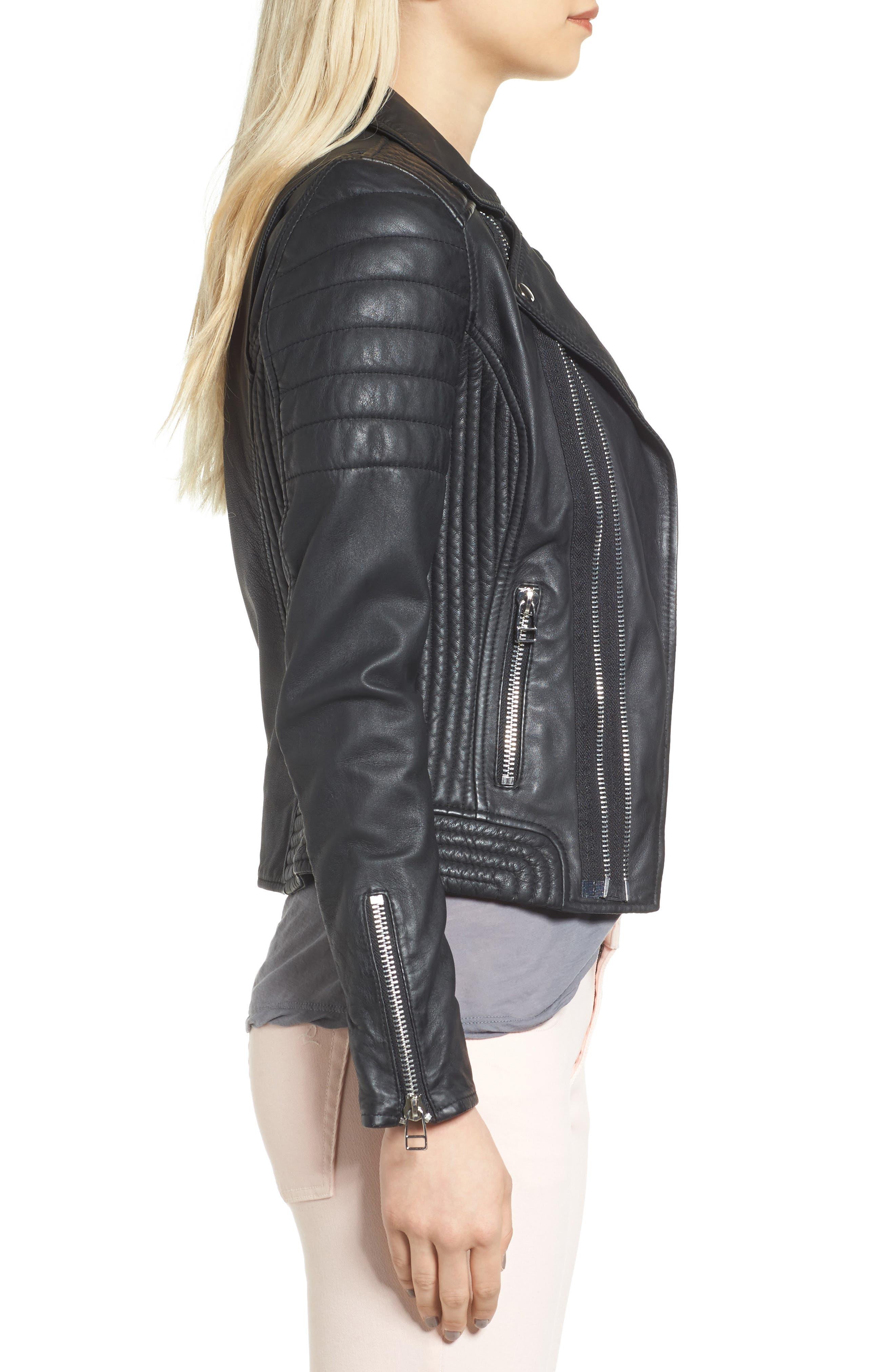 Dual Zip Leather Biker Jacket,                             Alternate thumbnail 3, color,