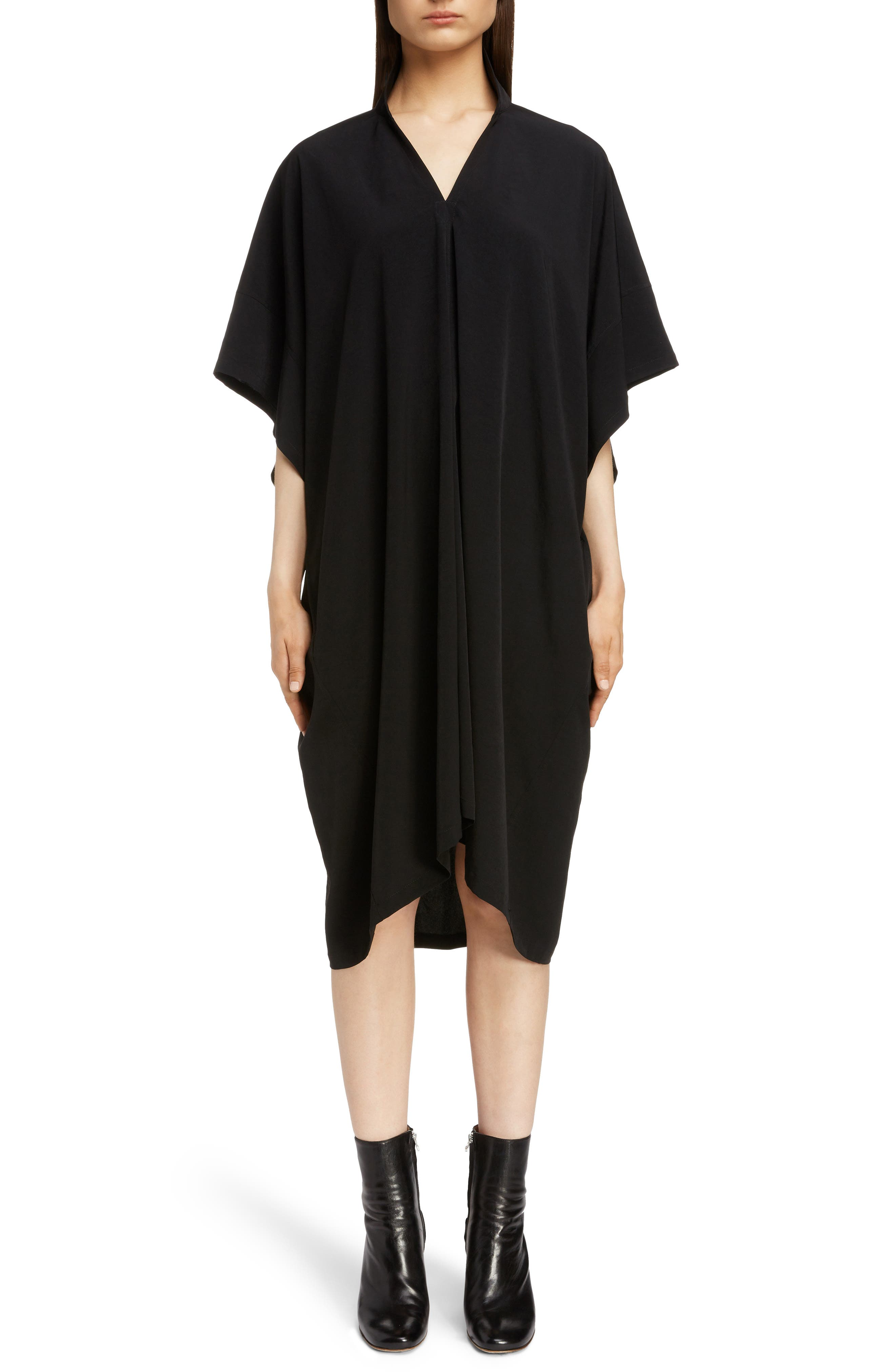 Stand Collar Flare Dress, Main, color, BLACK