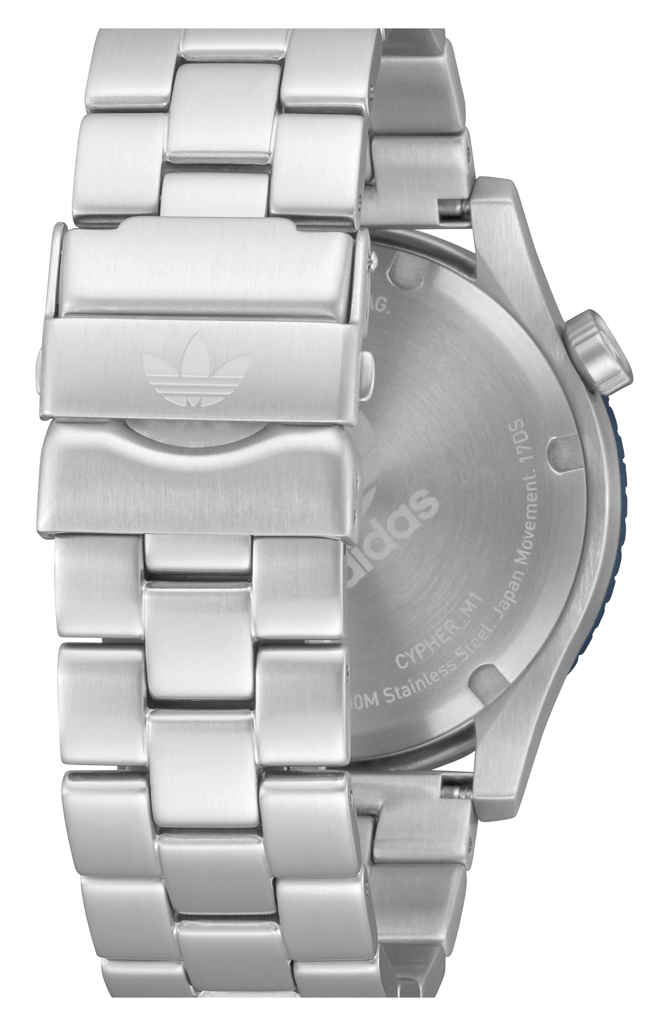 Cypher Bracelet Watch, 42mm,                             Alternate thumbnail 2, color,                             SILVER/ BLACK/ BLUE