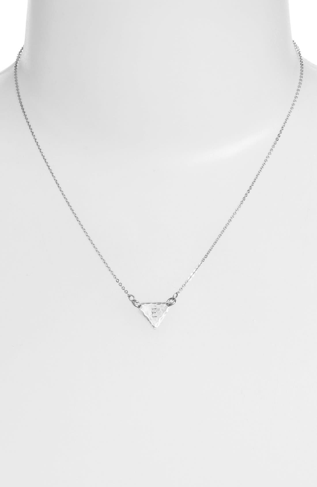 Sterling Silver Initial Mini Triangle Necklace,                             Alternate thumbnail 31, color,