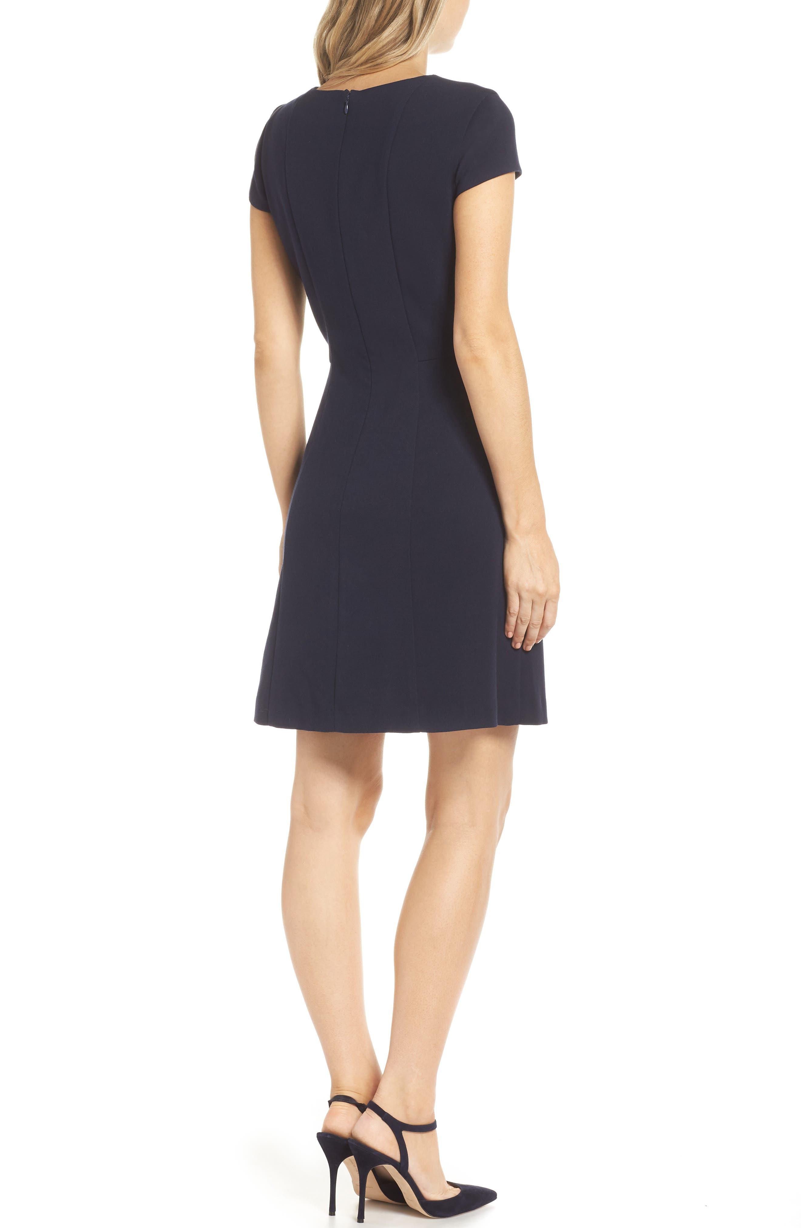 Cap Sleeve Fit & Flare Dress,                             Alternate thumbnail 2, color,                             NAVY