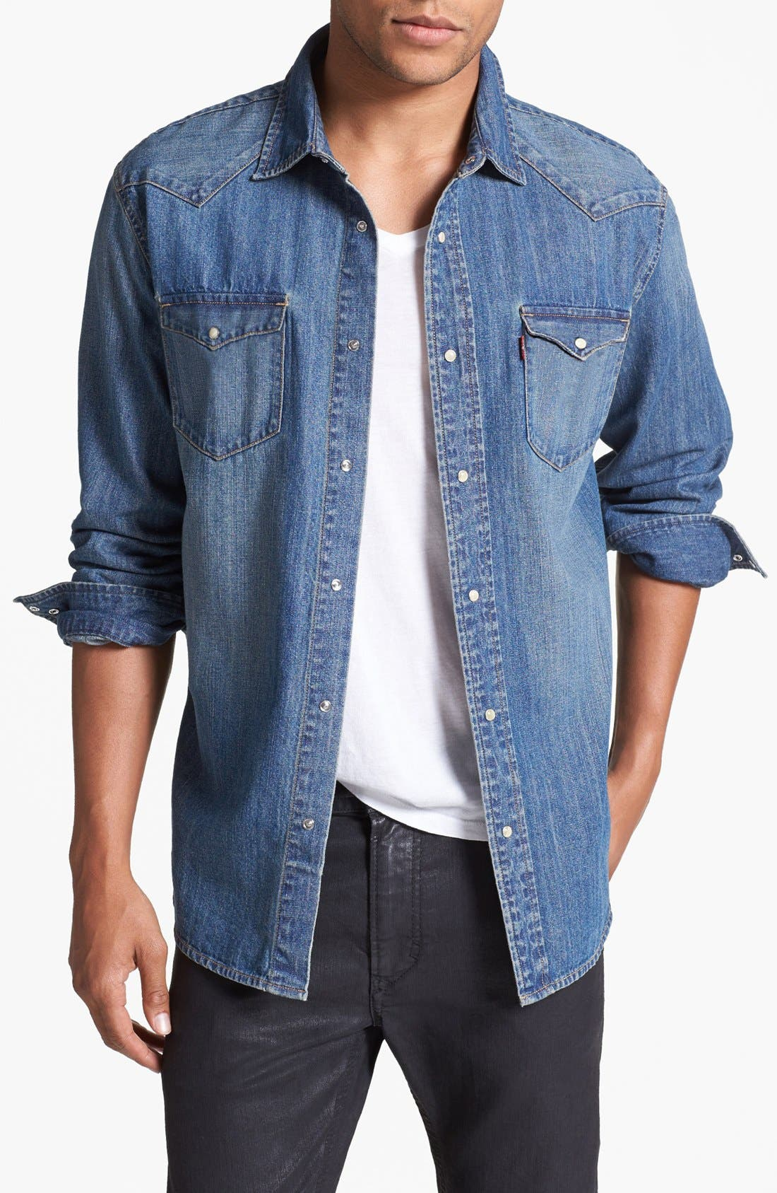 LEVI'S<SUP>®</SUP>,                             'Barstow' Western Denim Shirt,                             Main thumbnail 1, color,                             462